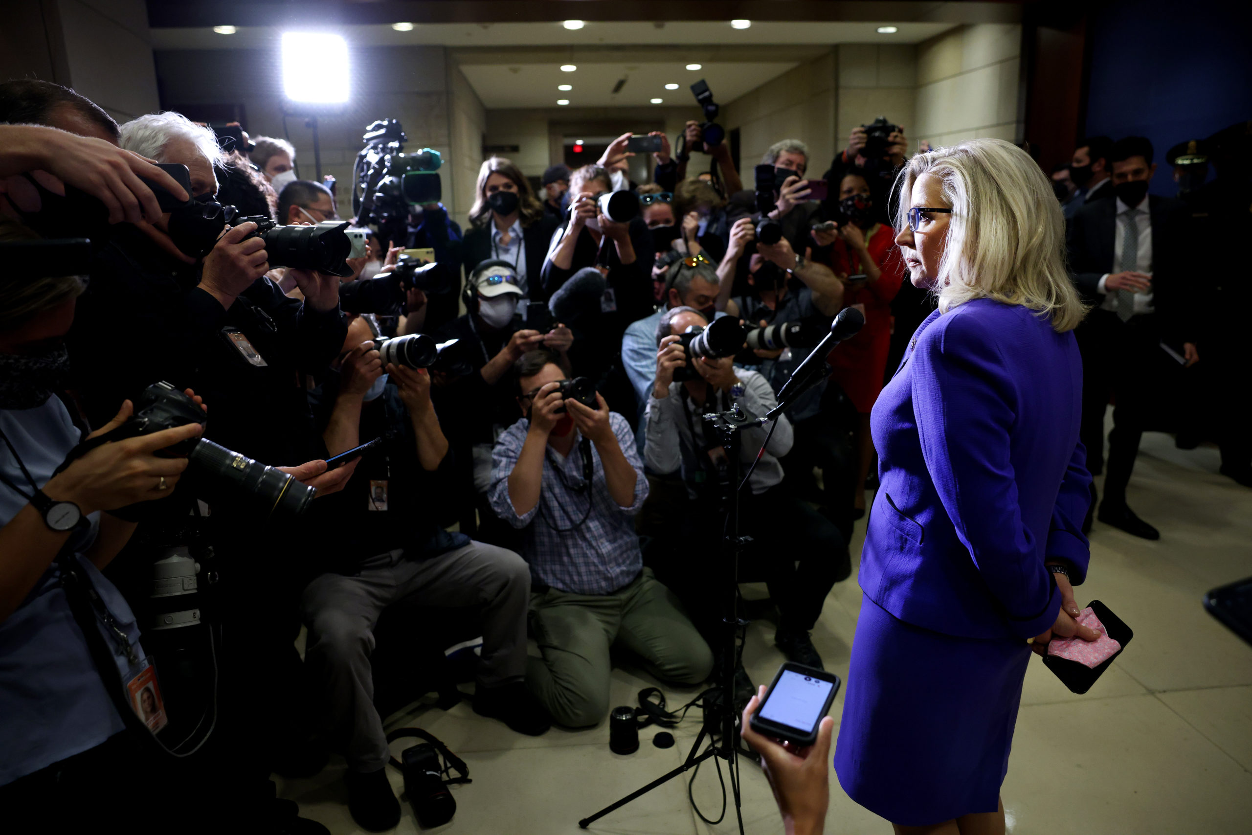 Rep. Liz Cheney speaks to the media after being ousted from House Republican leadership on May 12. (Kevin Dietsch/Getty Images)