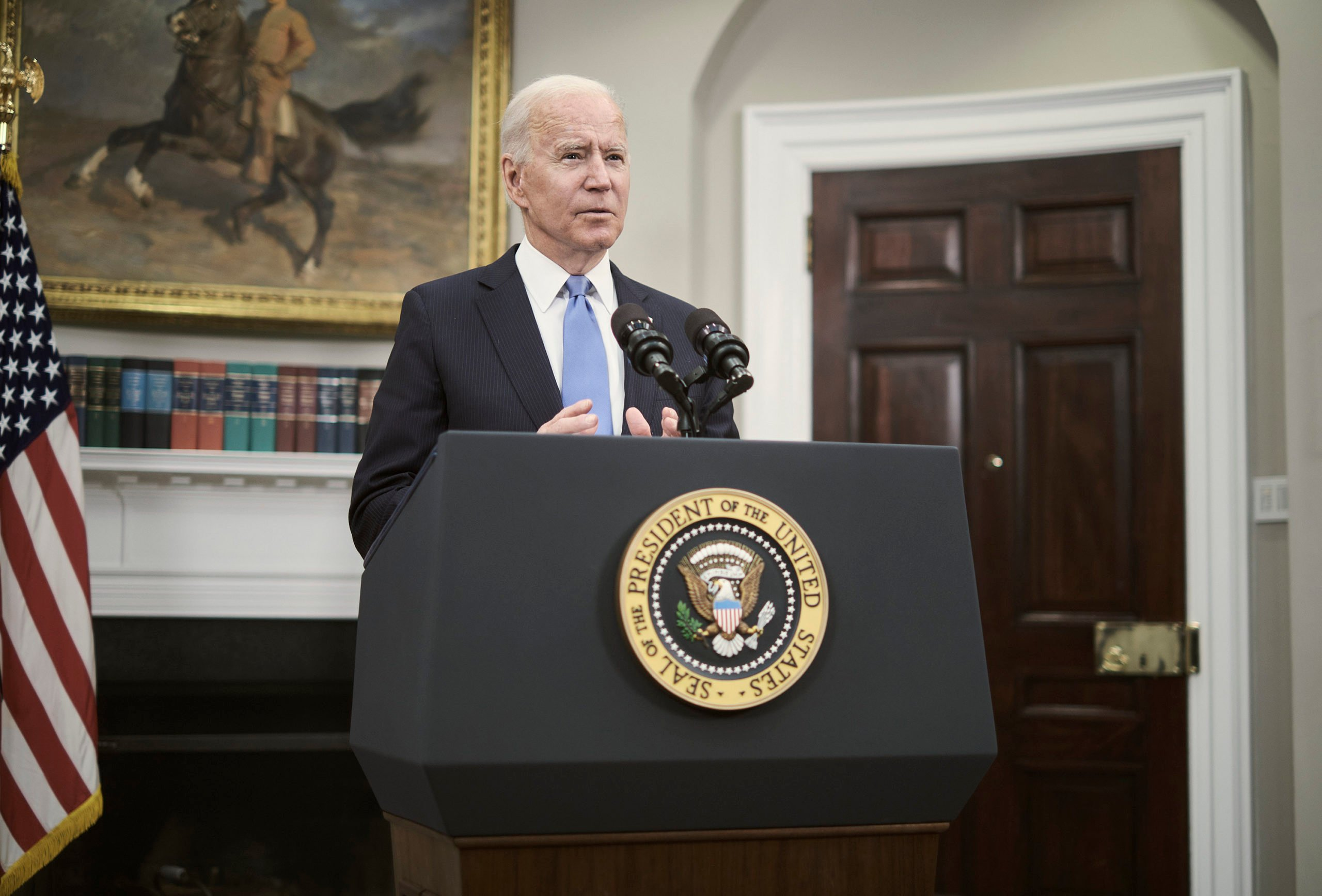 WASHINGTON, DC - MAY 13: U.S. President Joe Biden delivers remarks on the Colonial Pipeline incident in the Roosevelt Room of the White House May 13, 2021 in Washington, DC. President Biden said his administration doesn't believe the Russian government was behind the pipeline attack and the fuel shortages should end by this weekend or next week. (Photo by T.J. Kirkpatrick-Pool/Getty Images)