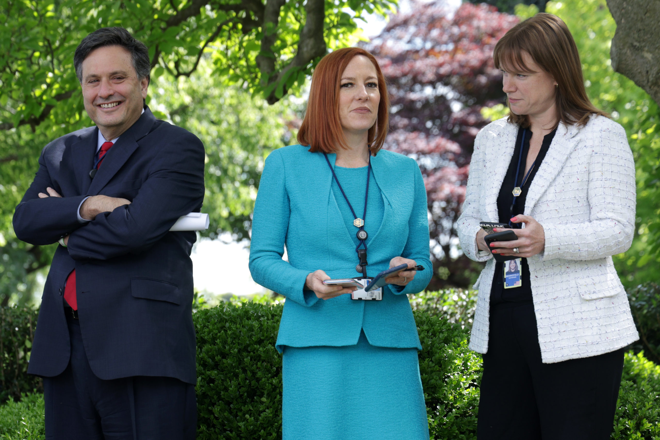 White House Chief of Staff Ron Klain, White House Press Secretary Jen Psaki and White House Communications Director Kate Bedingfield wait for President Joe Biden to deliver remarks on the COVID-19 response and vaccination program in the Rose Garden of the White House on May 13, 2021 in Washington, DC. (Alex Wong/Getty Images)