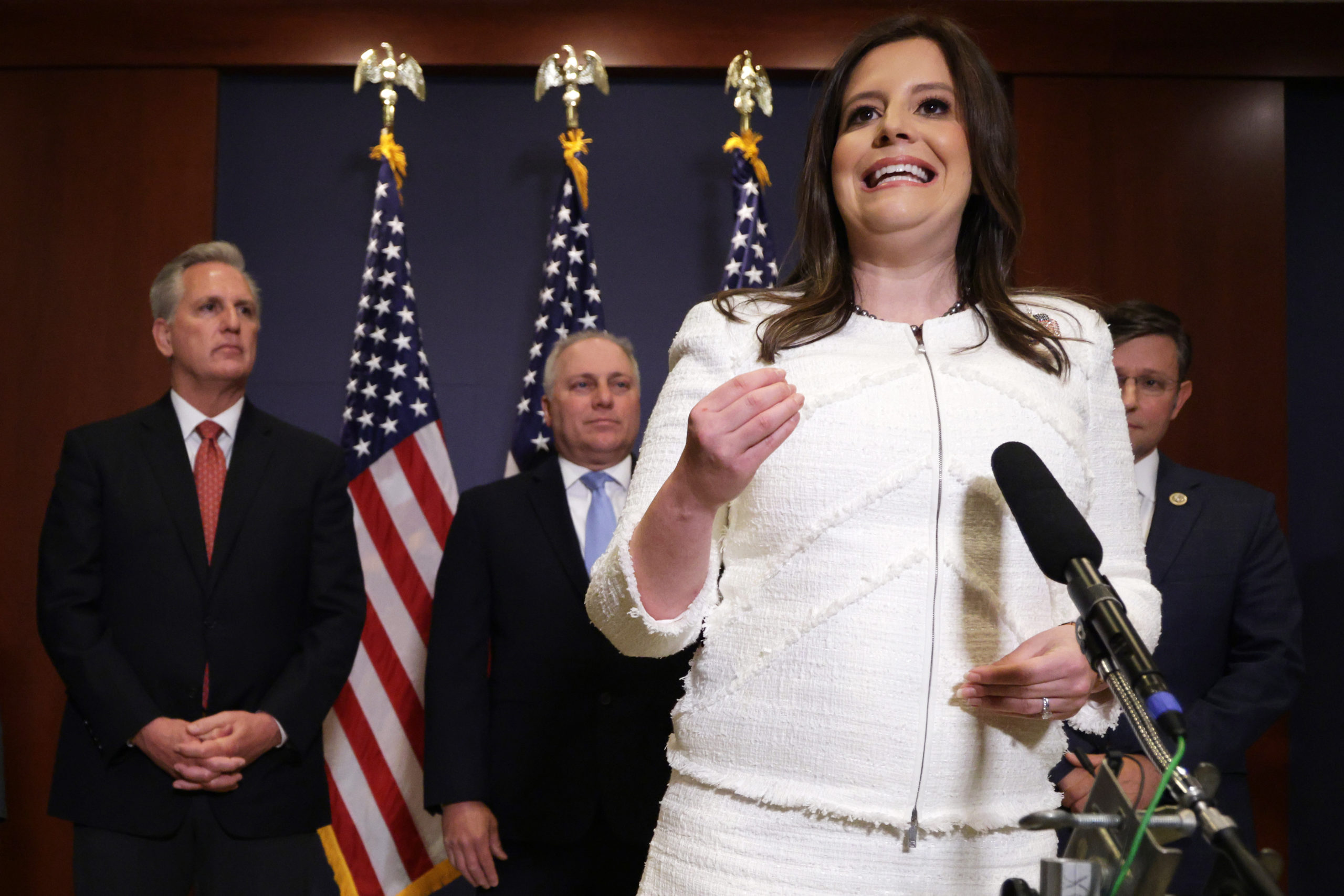 Rep. Elise Stefanik speaks to members of the press on Friday. (Alex Wong/Getty Images)