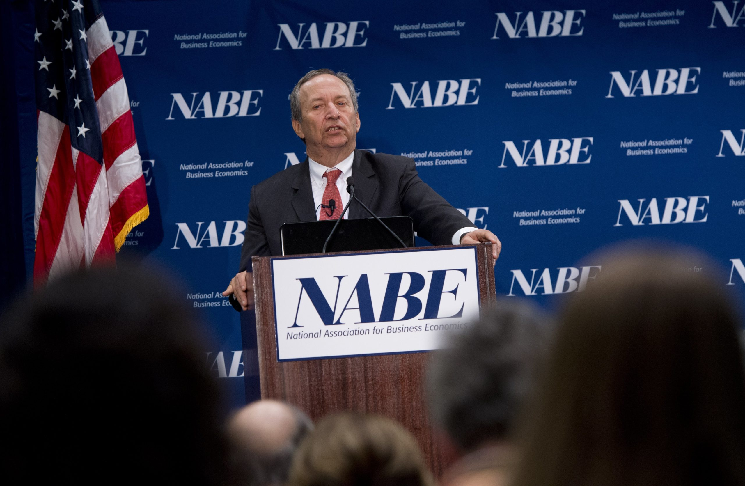 Former Treasury Secretary Larry Summers speaks at the 2014 Economic Policy Conference hosted by the National Association for Business Economics in Arlington, Virginia. (Saul Loeb/AFP via Getty Images)