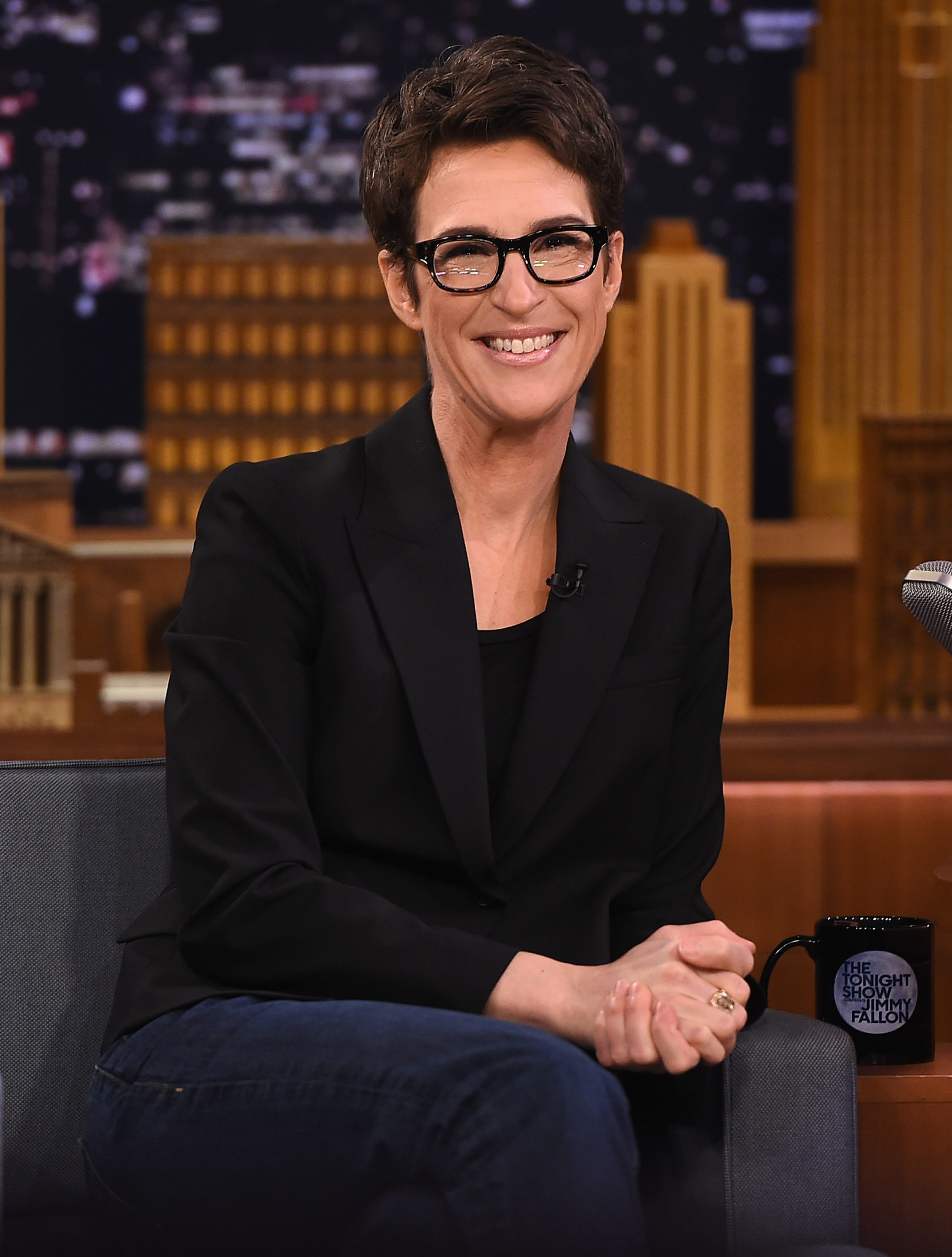 """Rachel Maddow Visits """"The Tonight Show Starring Jimmy Fallon"""" at Rockefeller Center on March 15, 2017 in New York City. (Photo by Theo Wargo/Getty Images for NBC)"""