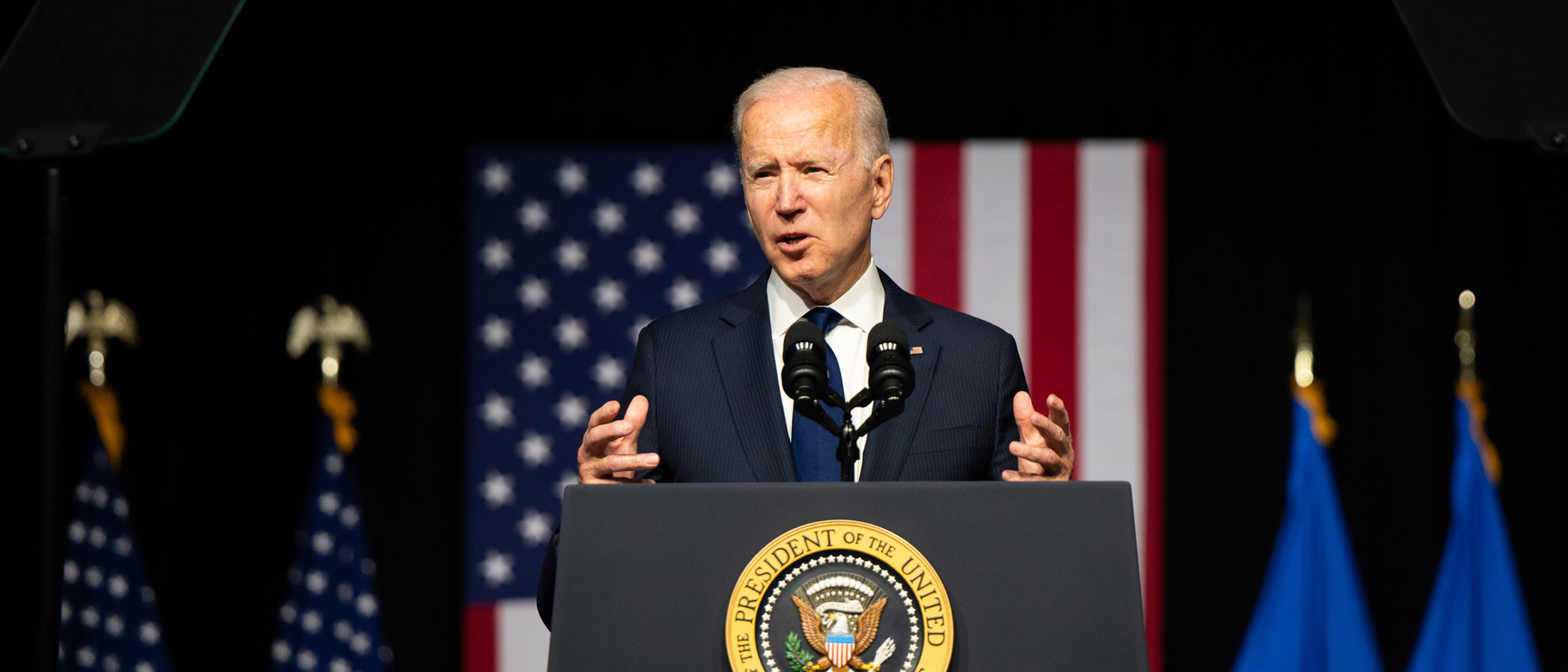 U.S. President Joe Biden speaks at a rally during commemorations of the 100th anniversary of the Tulsa Race Massacre on June 01, 2021 in Tulsa, Oklahoma. (Photo by Brandon Bell/Getty Images)