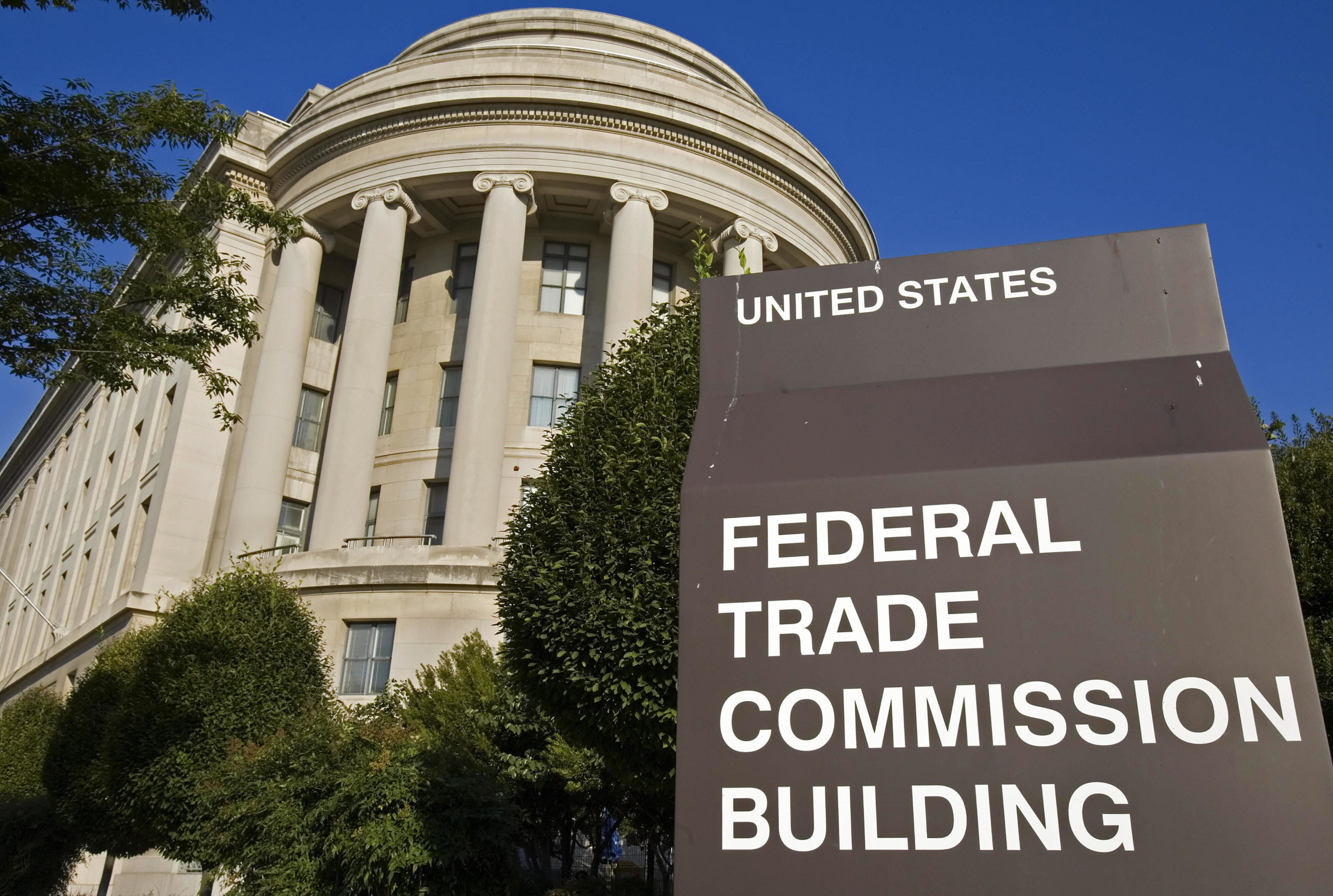 The US Federal Trade Commission (FTC) building is seen 19 September 2006 in Washington, DC. (Photo by PAUL J. RICHARDS/AFP via Getty Images)
