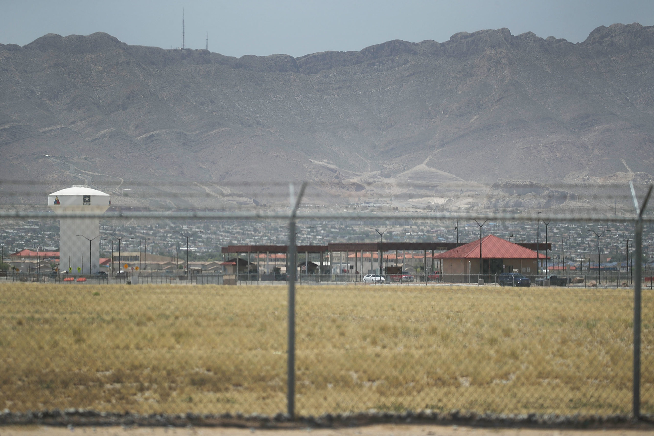 An entrance to Fort Bliss is shown as reports indicate the military will begin to construct temporary housing for mmigrants on June 25, 2018 in Fort Bliss, Texas. (Photo by Joe Raedle/Getty Images)