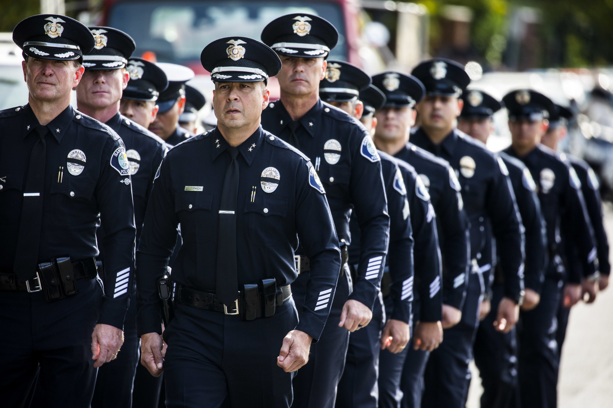WESTLAKE VILLAGE, CA - NOVEMBER 15: Santa Ana Police Officers leave the service of Sgt. Ron Helus, who was killed Wednesday, Nov. 7, 2018, in a deadly shooting at a country music bar, the Borderline Bar and Grill in Thousand Oaks, Calif., following his memorial service at The Calvary Community Church, on November 15, 2018 in Westlake Village, California. Sgt. Helus was killed in a mass shooting at the Borderline Bar and Grill in Thousand Oaks, California on November 7. (Photo by Barbara Davidson/Getty Images)
