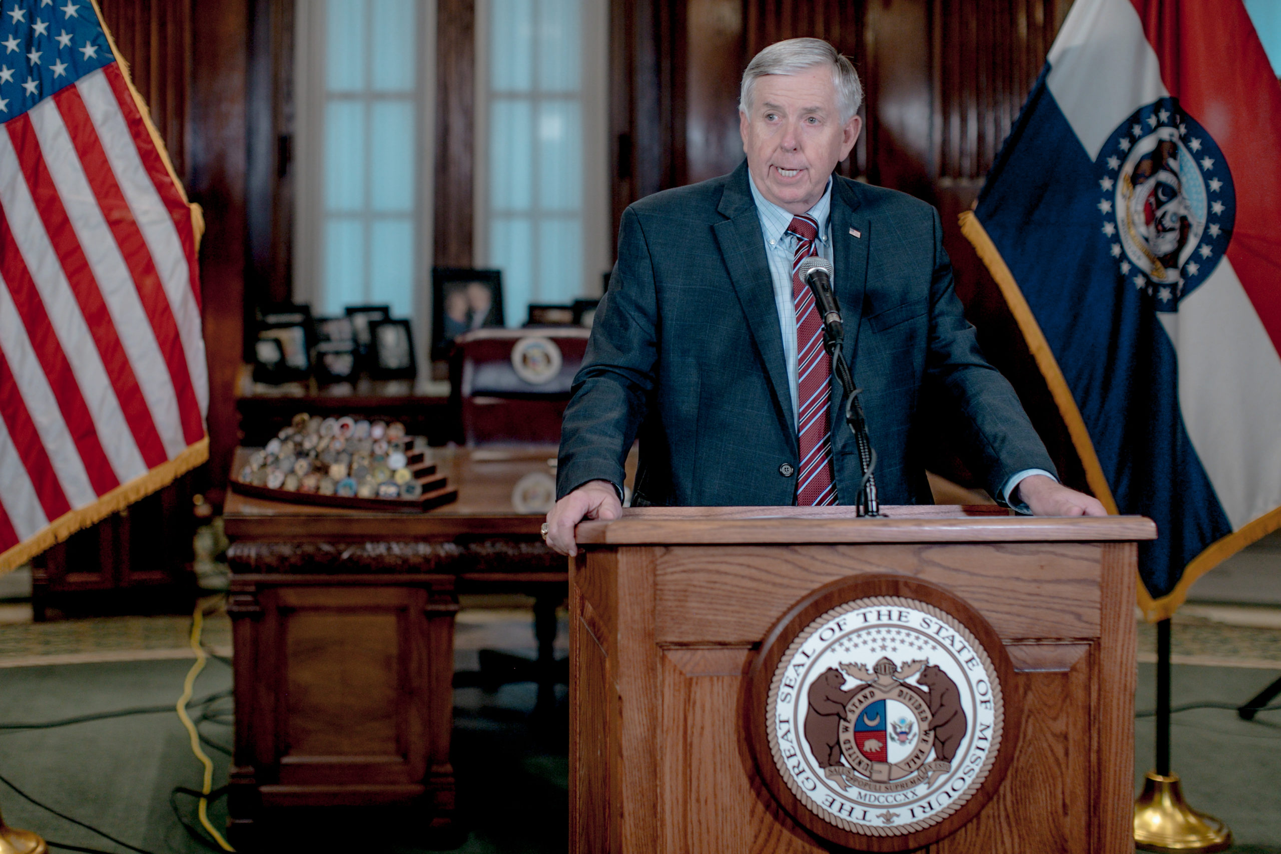 Gov. Mike Parson speaks during a press conference in 2019 in Jefferson City, Missouri. (Jacob Moscovitch/Getty Images)