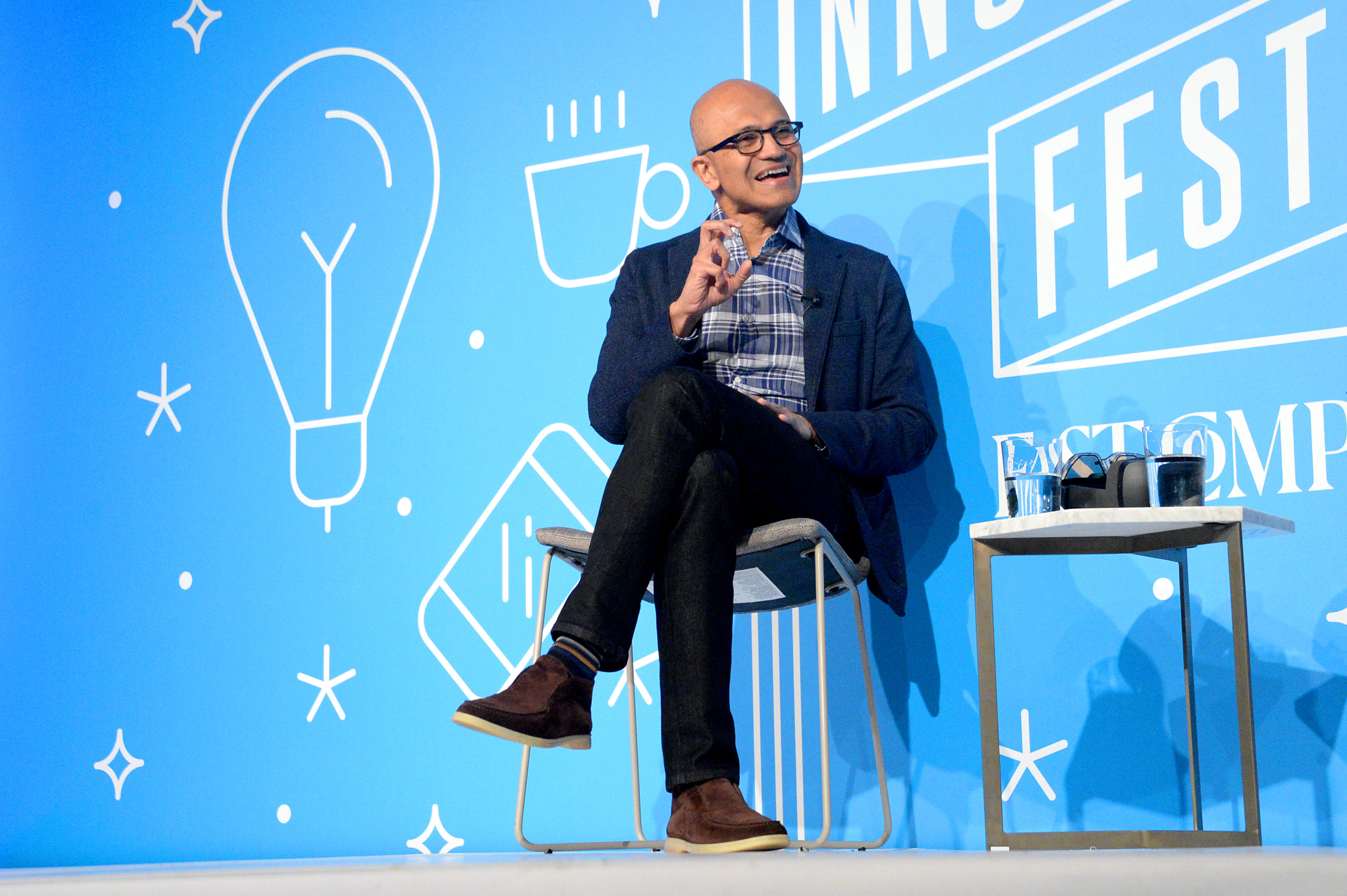 Microsoft CEO Satya Nadela speaks on stage on Nov. 7, 2019 in New York City. (Brad Barket/Getty Images for Fast Company)