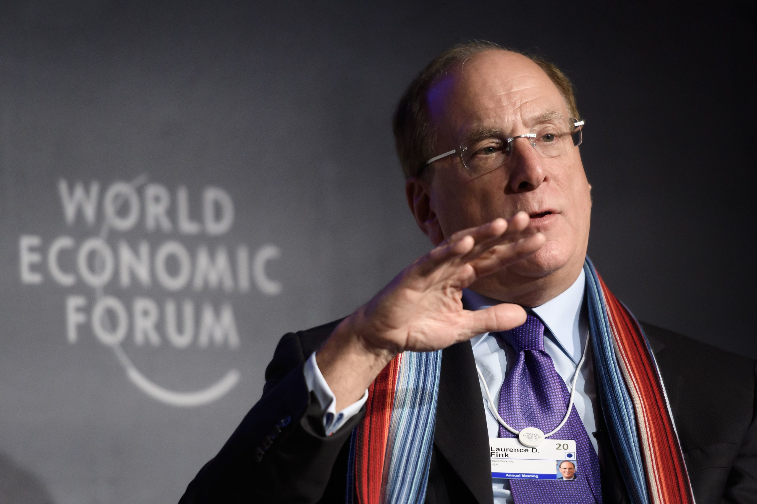 BlackRock CEO Laurence Fink attends a session at the World Economic Forum on Jan. 23, 2020. (Fabrice Coffrini/AFP via Getty Images)