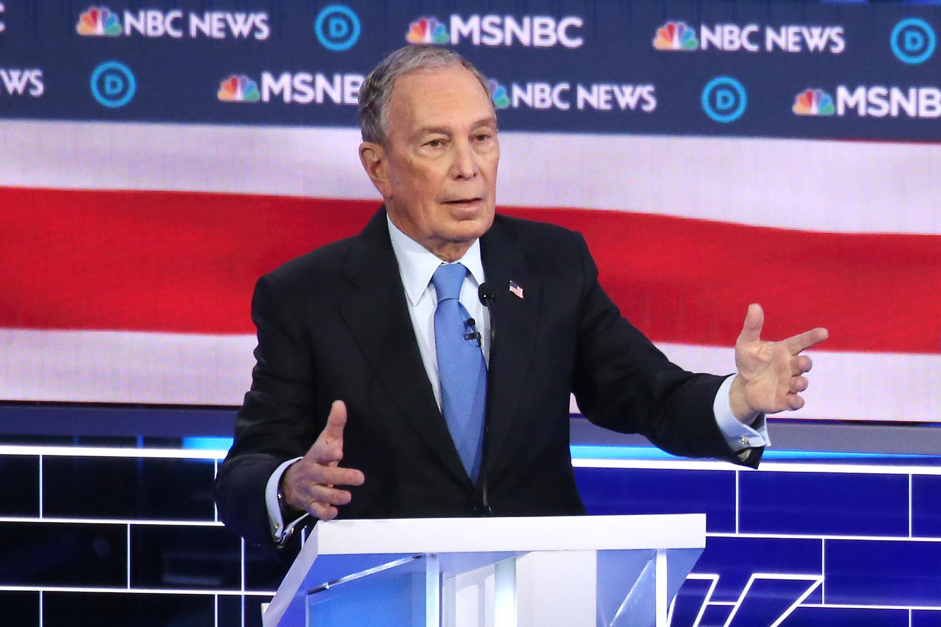 Mike Bloomberg speaks during the Democratic presidential primary debate in Las Vegas on Feb. 19, 2020. (Mario Tama/Getty Images)
