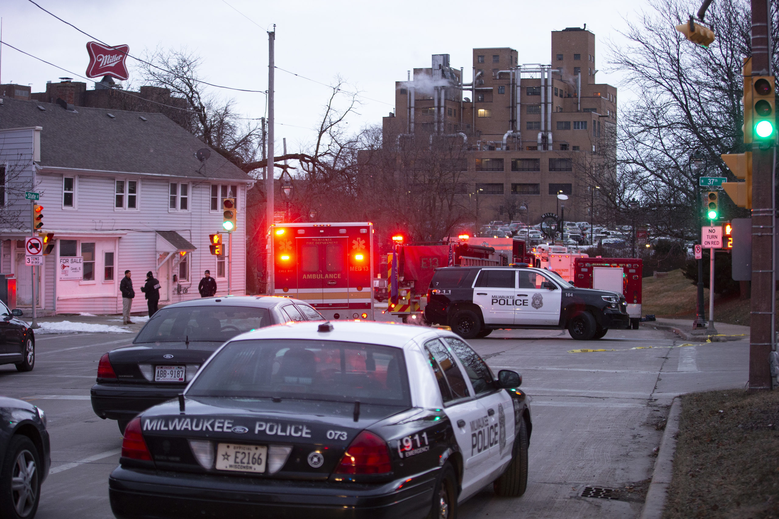 Emergency personnel arrive to the scene of a shooting on Feb. 26, 2020 in Milwaukee, Wisconsin. (Nuccio DiNuzzo/Getty Images)