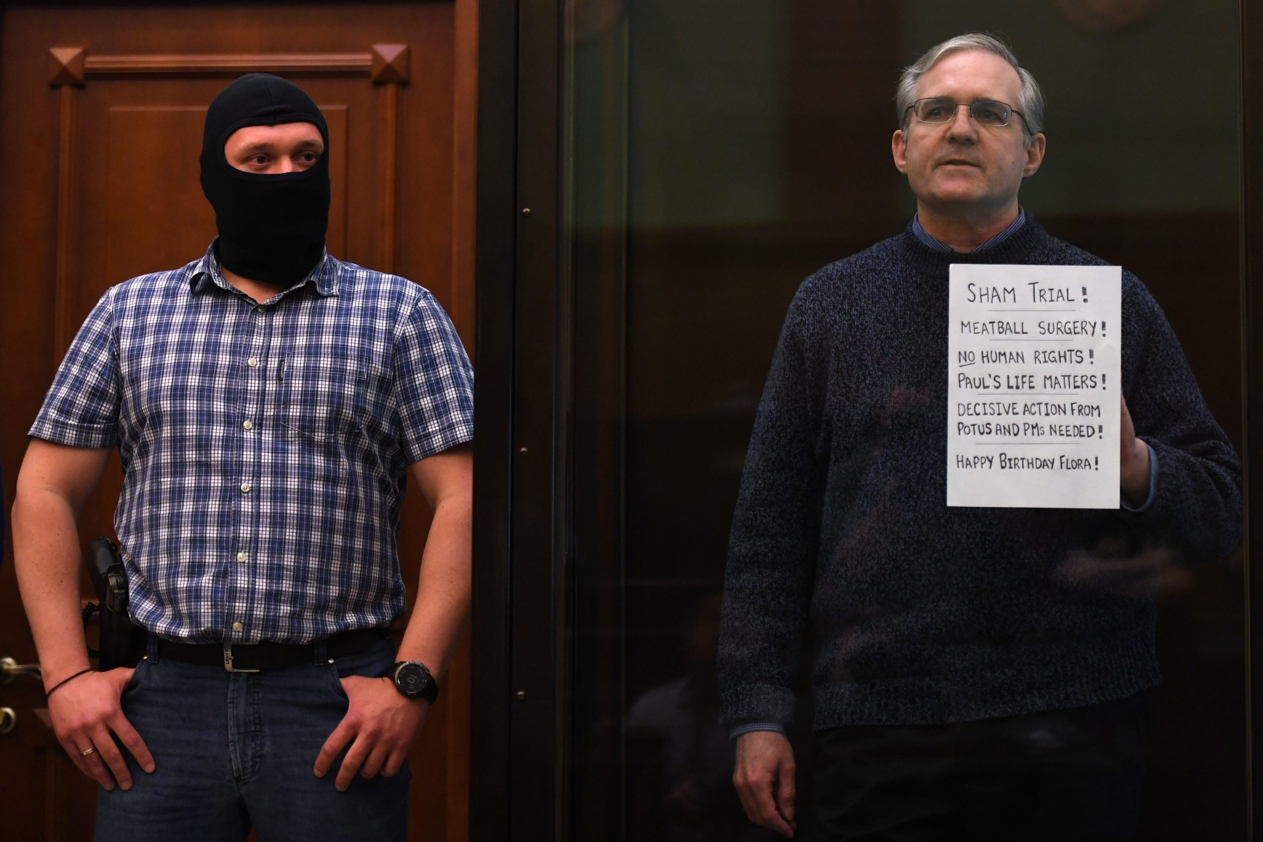 Paul Whelan stands inside a defendants' cage as he waits to hear the verdict of his case in a Moscow, Russia court on June 15, 2020. (Kirill Kudryavtsev/AFP via Getty Images)