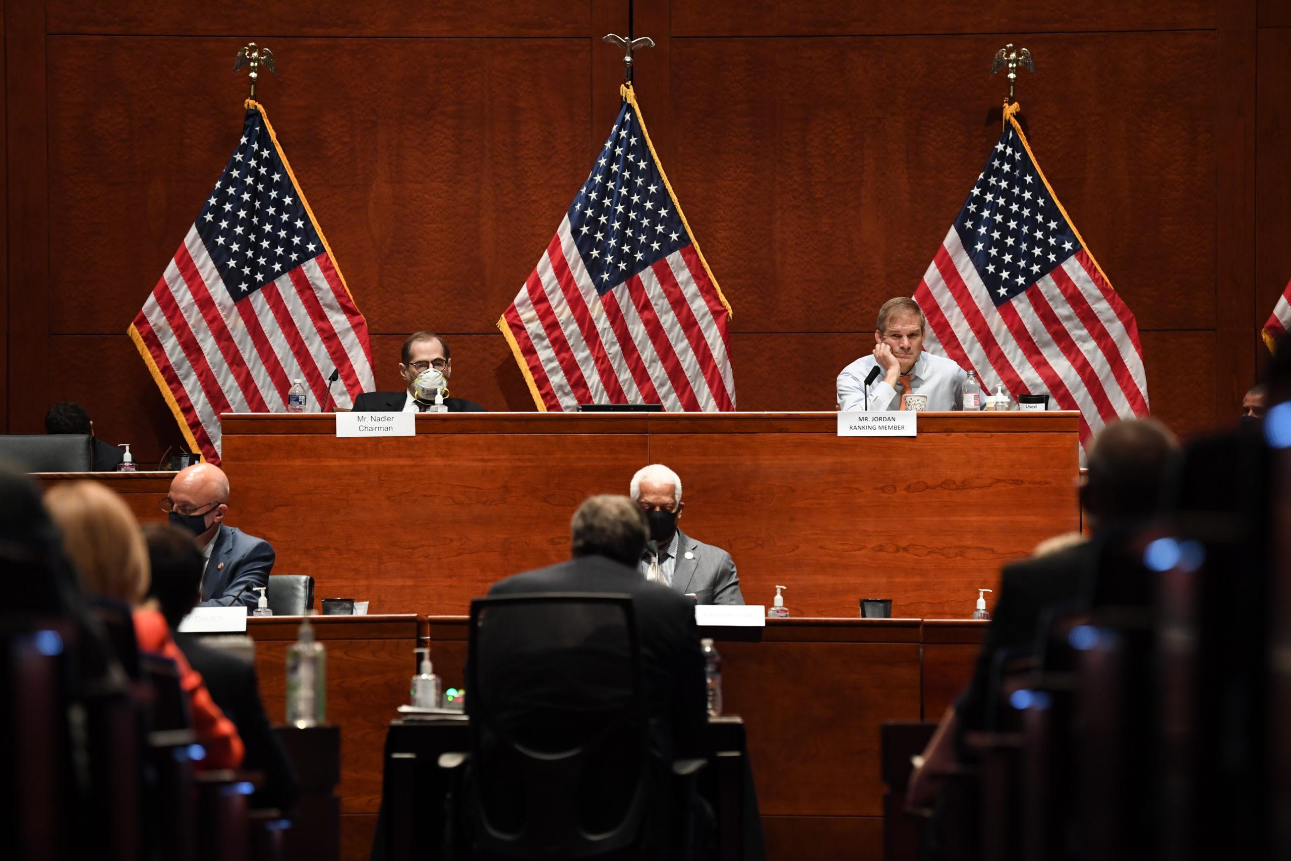 Reps. Jerrold Nadler and Jim Jordan listen during a hearing on July 28. (Matt McClain/Pool/Getty Images)