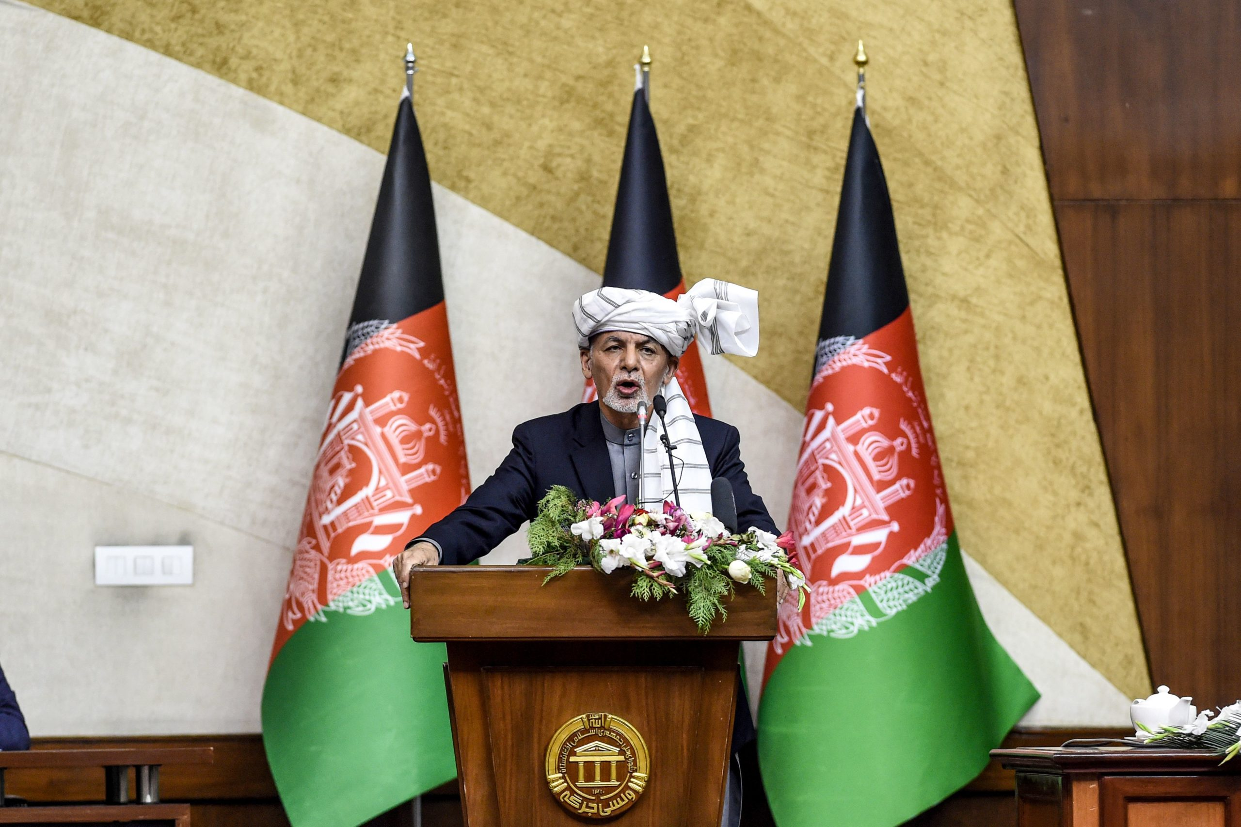 Afghanistan's President Ashraf Ghani speaks during the introduction of ministerial nominees at the Parliament in Kabul on October 21, 2020. (Photo by WAKIL KOHSAR / AFP) (Photo by WAKIL KOHSAR/AFP via Getty Images)
