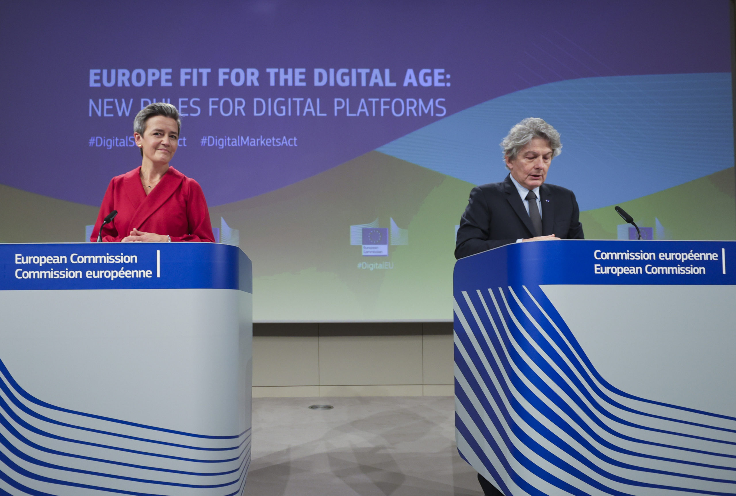 European Commission leader Margrethe Vestager and European Commissioner for Internal Market Thierry Breton attend a press conference on digital fairness on Dec. 15 in Brussels. (Olivier Matthys/Pool/AFP via Getty Images)