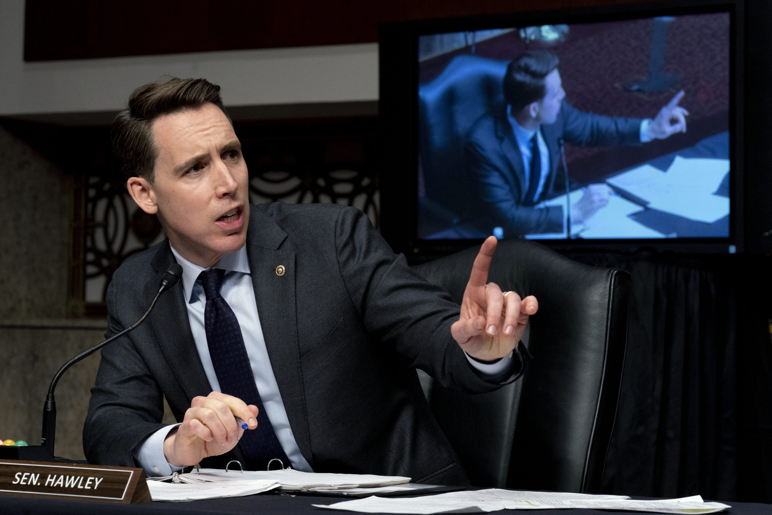 Sen. Josh Hawley speaks during a Senate hearing on Feb. 23. (Andrew Harnik/Pool/Getty Images)