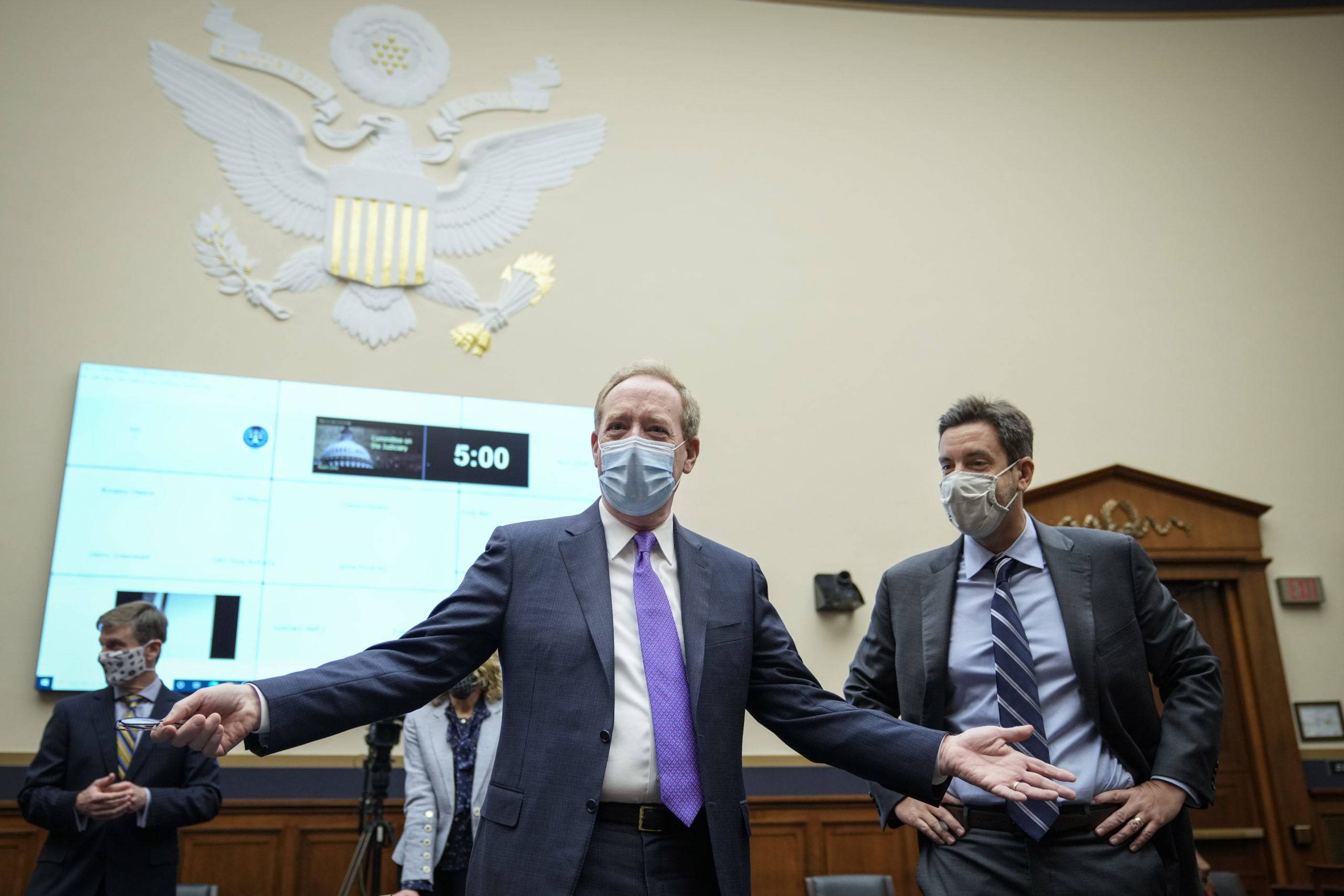 Microsoft President Brad Smith arrives to a House Judiciary Committee hearing on March 12. (Drew Angerer/Getty Images)