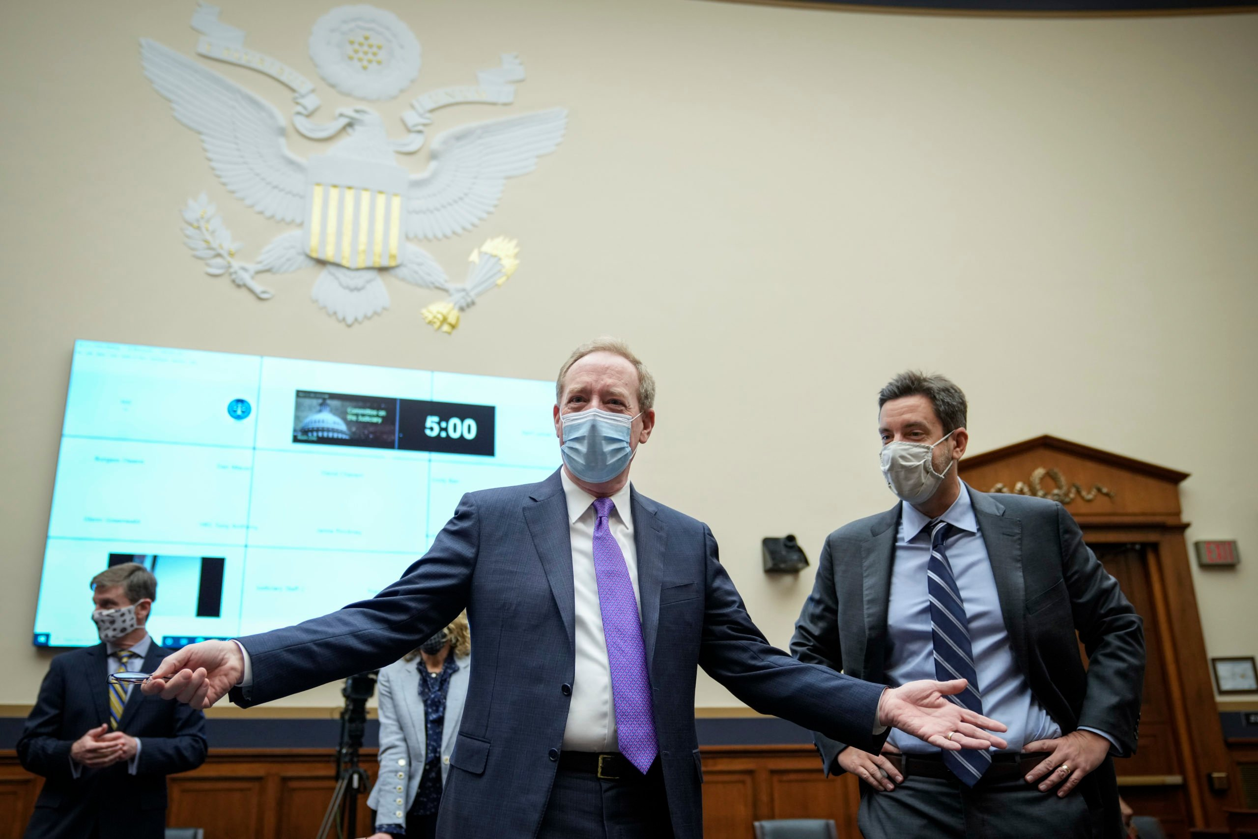 President of Microsoft Brad Smith arrives to a House Judiciary Committee hearing in March. (Drew Angerer/Getty Images)