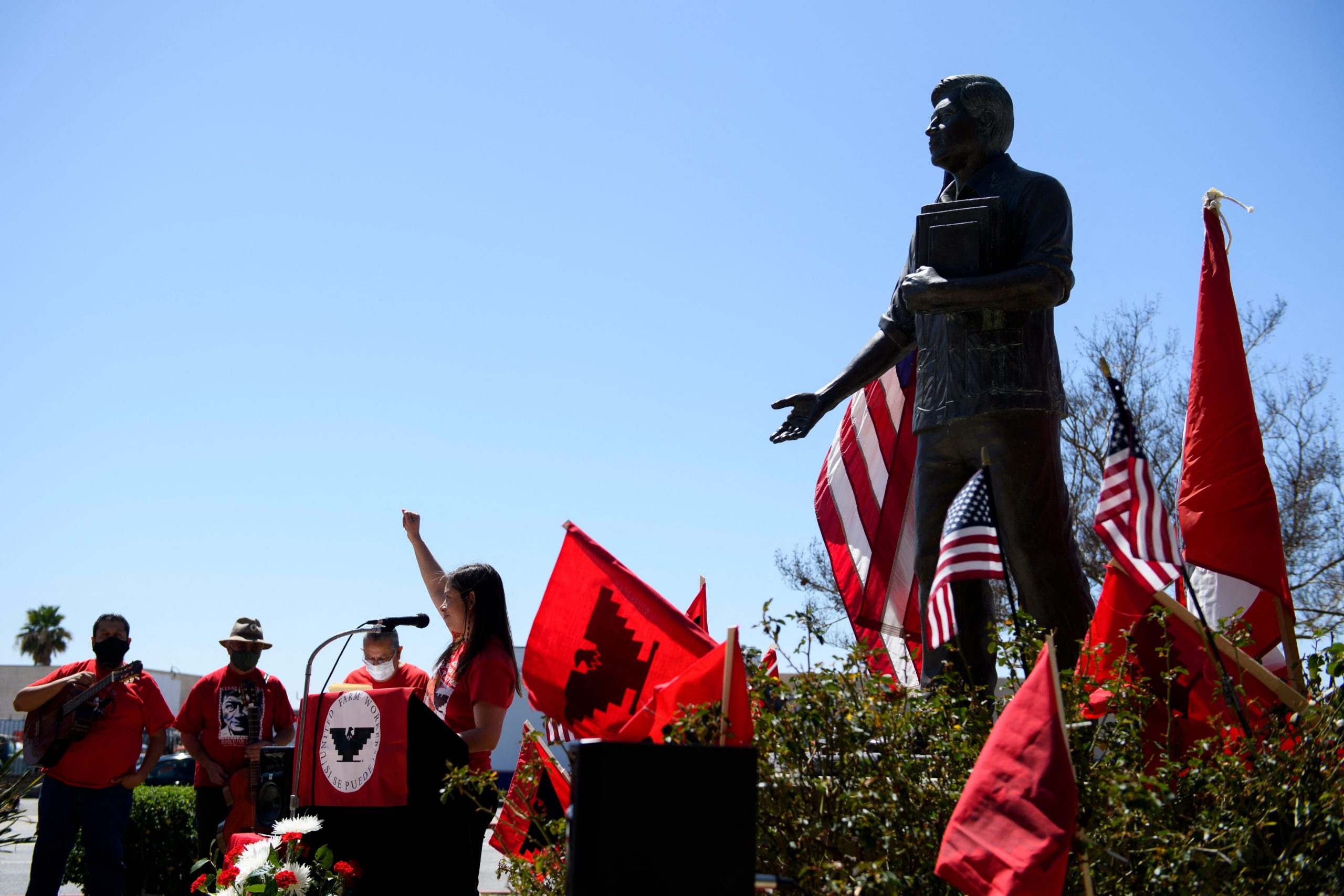 Members of the San Fernando Valley commemorative committee celebrate Cesar Chavez Day on March 31 in San Fernando, California. (Patrick T. Fallon/AFP via Getty Images)