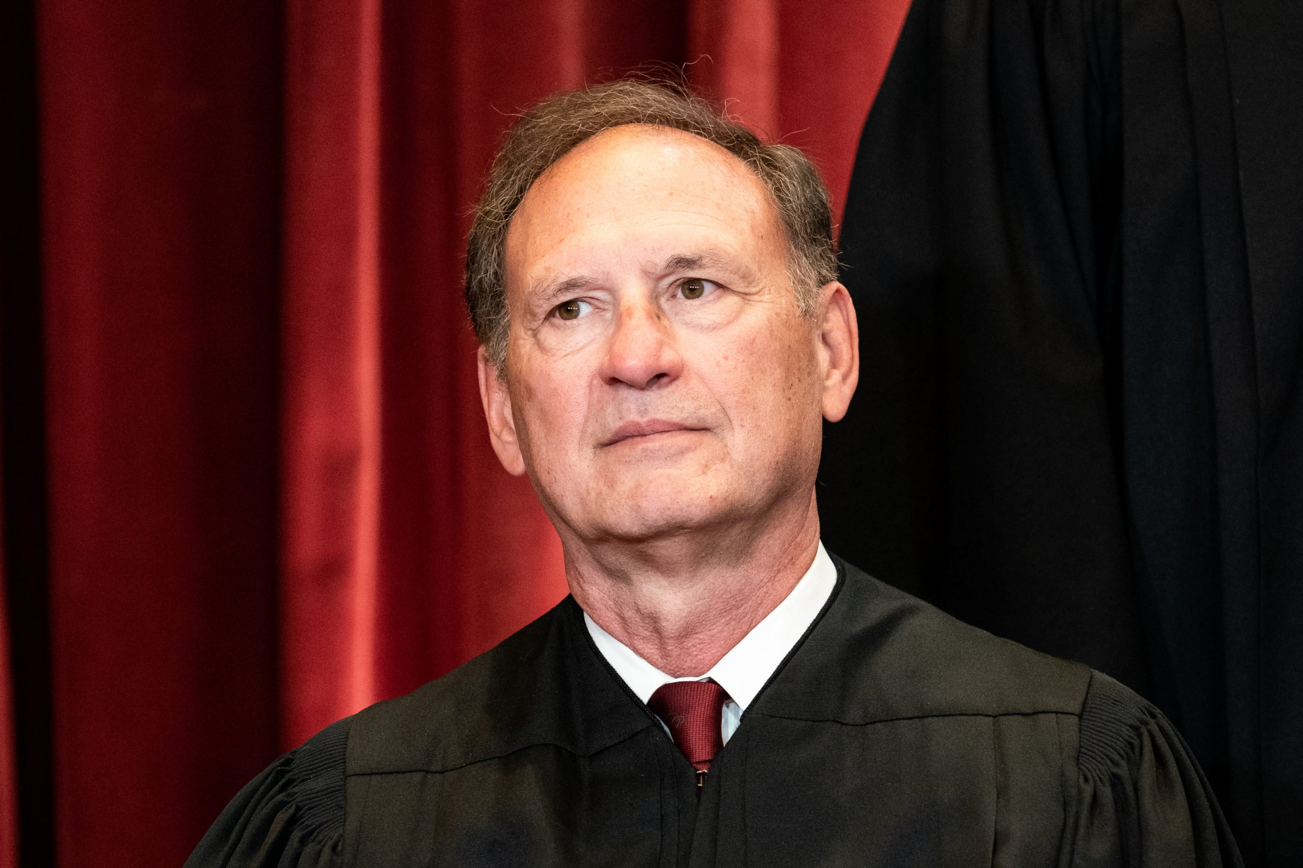 WASHINGTON, DC - APRIL 23: Associate Justice Samuel Alito sits during a group photo of the Justices at the Supreme Court in Washington, DC on April 23, 2021. (Photo by Erin Schaff-Pool/Getty Images)