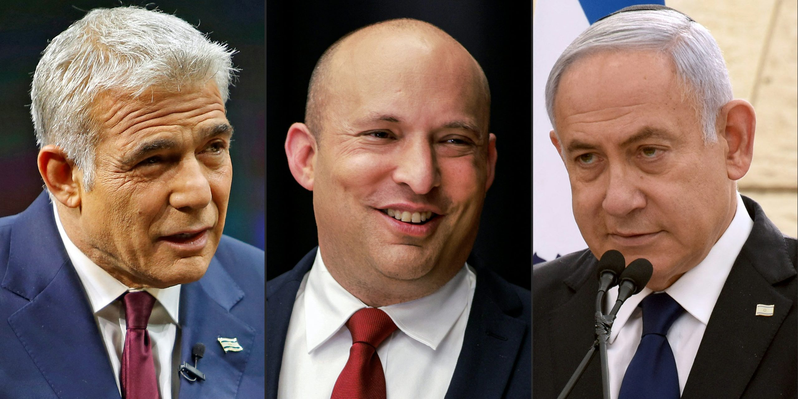 This combination of pictures created on May 5, 2021 shows (L to R) Yair Lapid of the Yesh Atid (There Is a Future) party speaking during an interview in Jerusalem on March 7, 2021; Naftali Bennett of the Yamina (Right) party speaking to reporters at a conference in Jerusalem on March 15, 2021; and Israeli Prime Minister Benjamin Netanyahu of the Likud party speaking during a ceremony marking Yom HaZikaron, Israel's Memorial Day, in Jerusalem on April 13, 2021. (GIL COHEN-MAGEN,MENAHEM KAHANA,DEBBIE HILL/POOL/AFP via Getty Images)