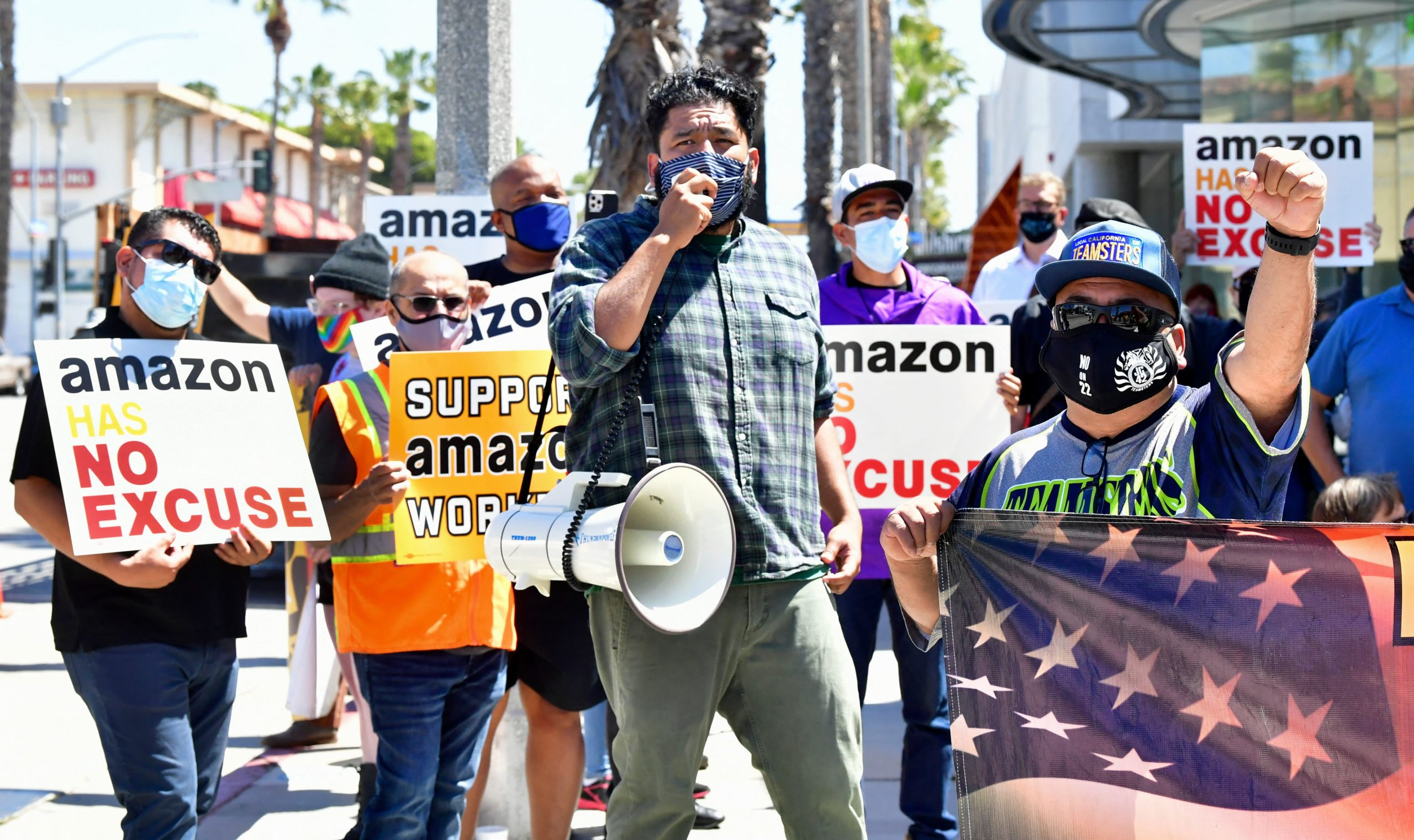 Amazon workers protest on May 24 in Santa Monica, California. (Frederic J. Brown/AFP via Getty Images)