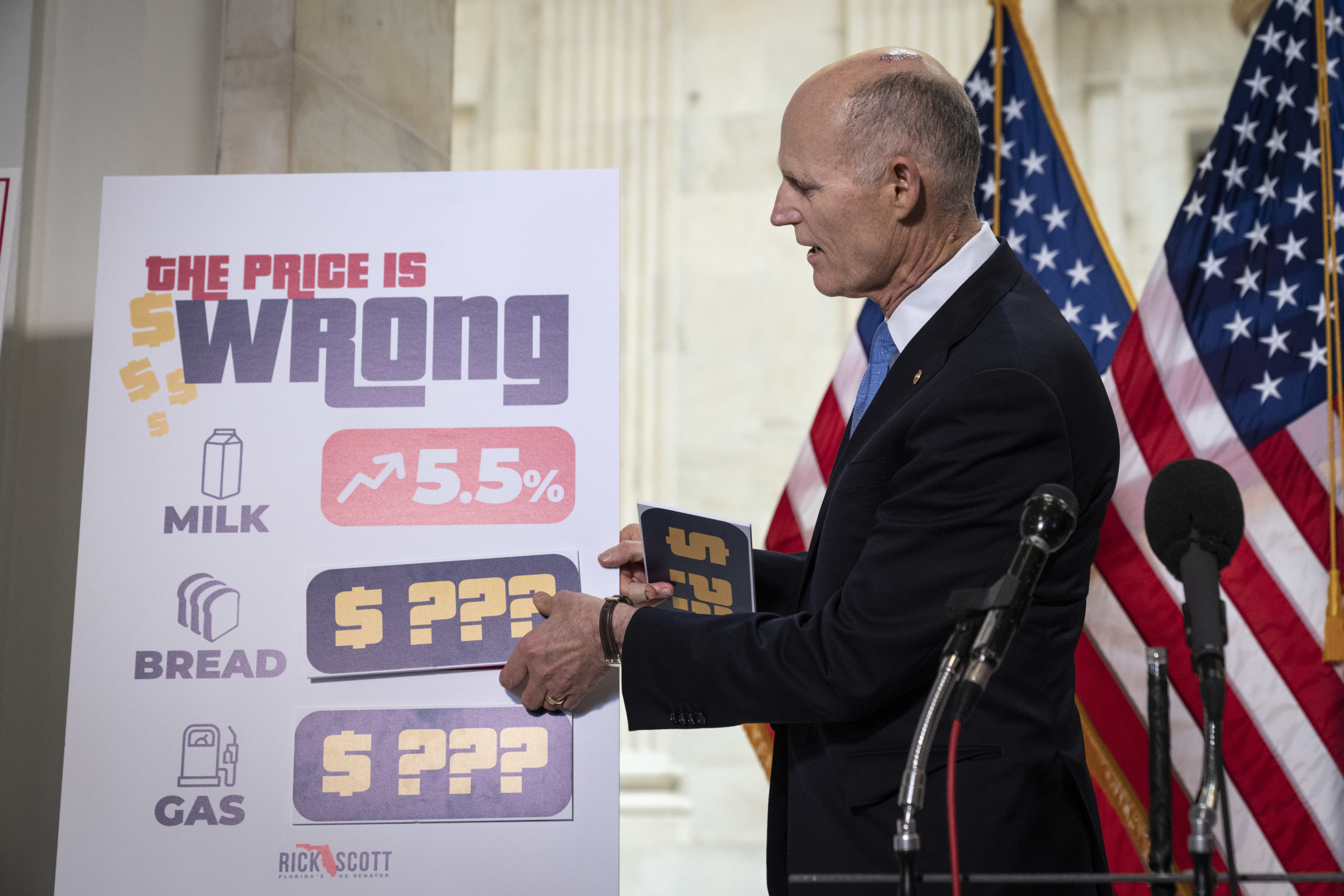 Sen. Rick Scott speaks during a news conference about inflation on May 26. (Drew Angerer/Getty Images)