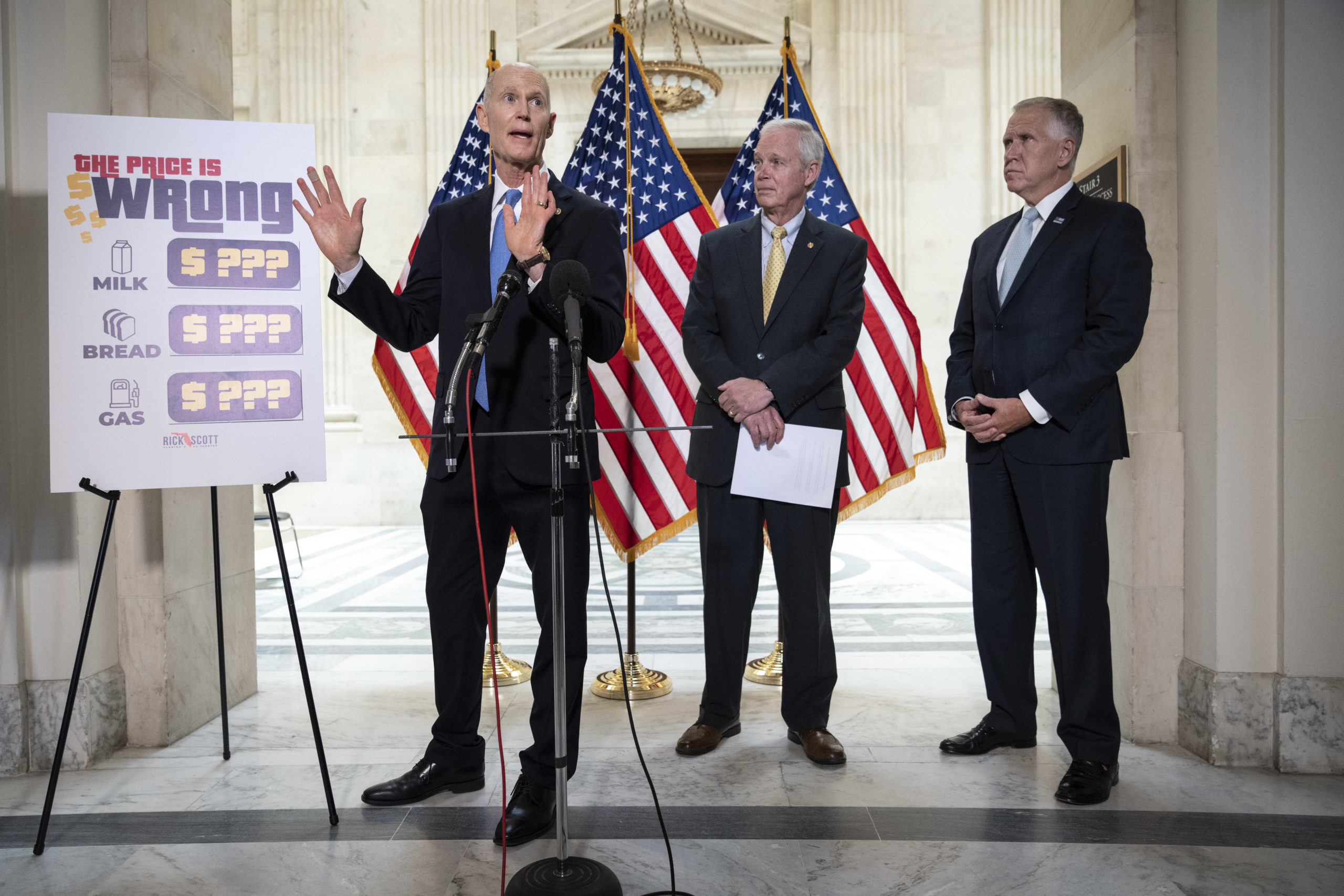 Republican Sens. Rick Scott, Ron Johnson and Thom Tillis hold a news conference about inflation on May 26. (Drew Angerer/Getty Images)