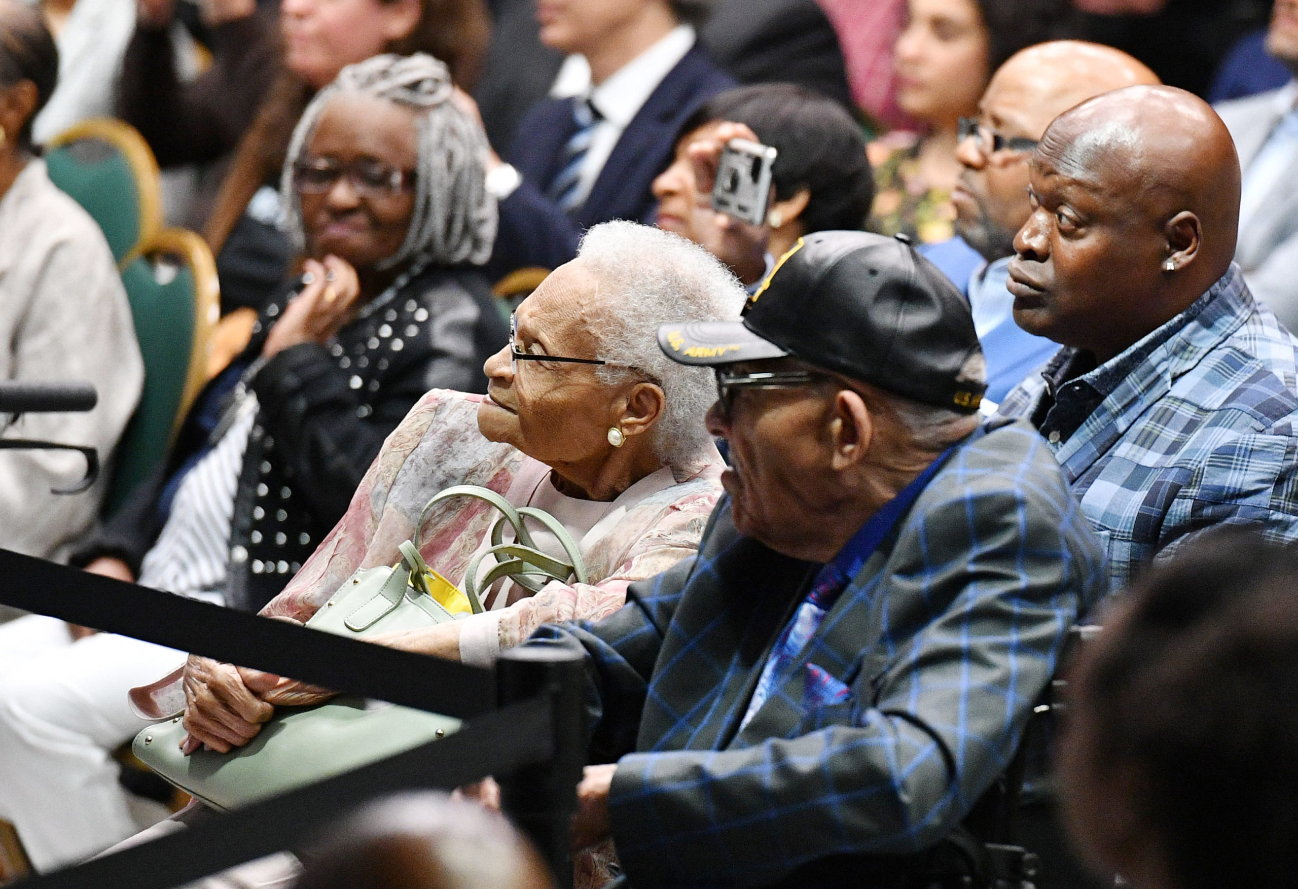 Tulsa race massacre Survivors Viola Fletcher (C) and Hughes Van Ellis (C R) listen to US President Joe Biden as he speaks on the 100th anniversary of the Tulsa Race Massacre at the Greenwood Cultural Center in Tulsa, Oklahoma on June 1, 2021. (MANDEL NGAN/AFP via Getty Images)
