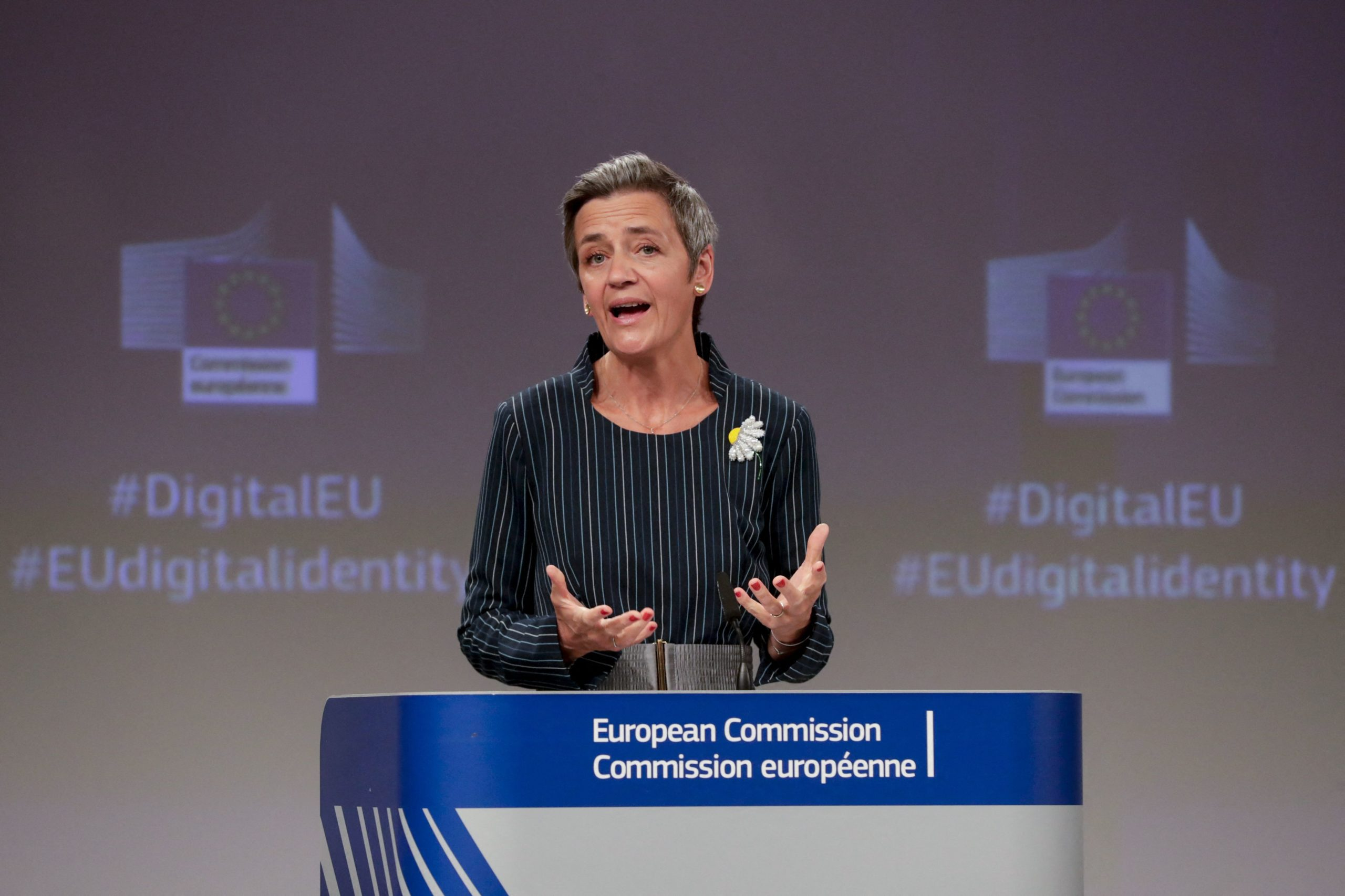 European Commission Vice President Margrethe Vestager speaks during a press conference in Brussels on Thursday. (Stephanie Lecocq/AFP via Getty Images)