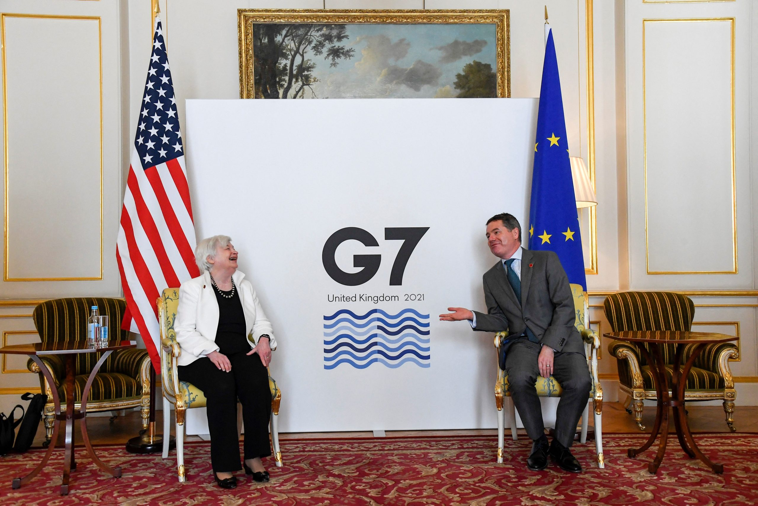 Treasury Secretary Janet Yellen meets with European financial leaders on the second day of the G7 Finance Ministers Meeting in London, U.K. on Saturday. (Alberto Pezzali/Pool/AFP via Getty Images)