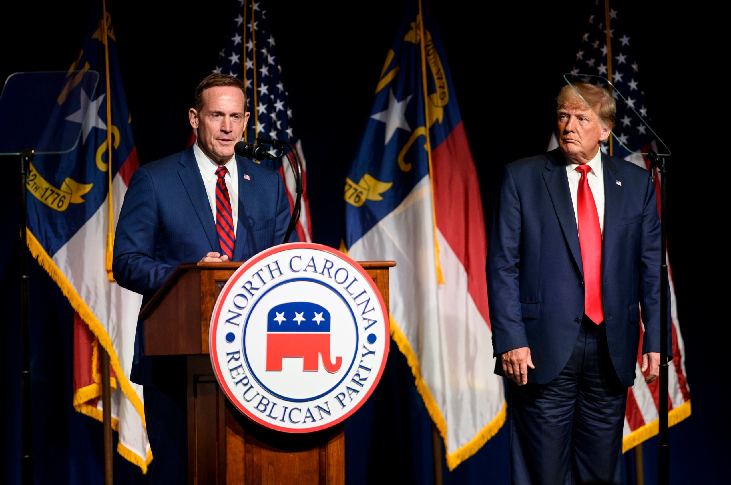 Former U.S. President Donald Trump listens to Ted Budd announce he's running for the NC Senate at the NCGOP state convention on June 5, 2021 in Greenville, North Carolina. (Melissa Sue Gerrits/Getty Images)