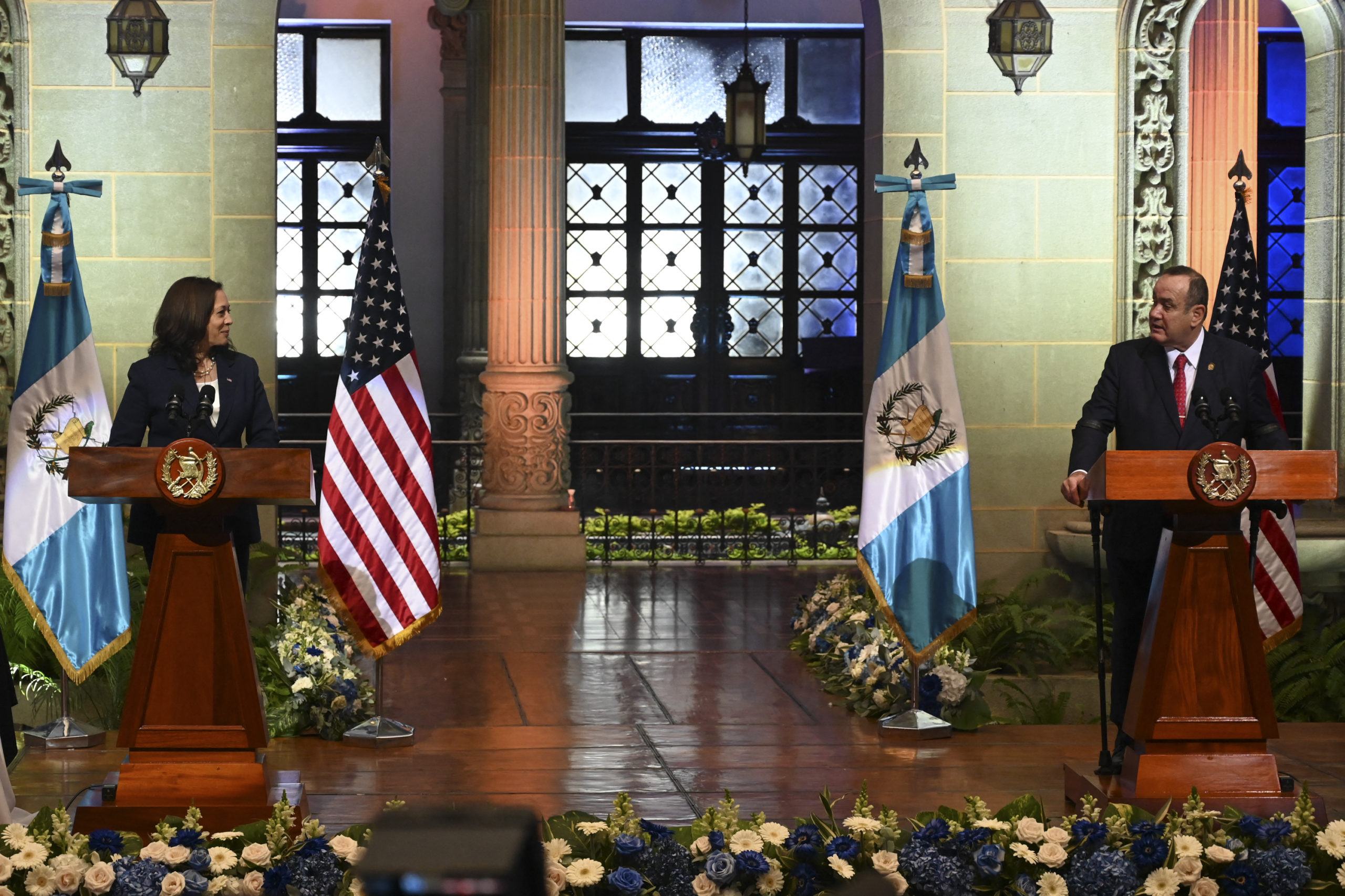 """US Vice-President Kamala Harris (L) and Guatemalan President Alejandro Giammattei deliver a joint press conference at the Culture Palace in Guatemala City on June 7, 2021. - Harris arrived in Guatemala Sunday, bringing a message of """"hope"""" to a region hammered by Covid-19 and which is the source of most of the undocumented migrants seeking entry to the United States. (Photo by Johan ORDONEZ / AFP) (Photo by JOHAN ORDONEZ/AFP via Getty Images)"""