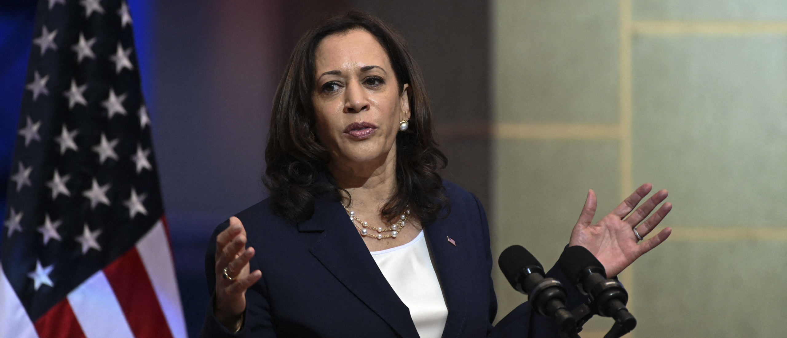 US Vice-President Kamala Harris speaks during a joint press conference with Guatemalan President Alejandro Giammattei (out of frame) at the Culture Palace in Guatemala City on June 7, 2021. (Photo by JOHAN ORDONEZ/AFP via Getty Images)