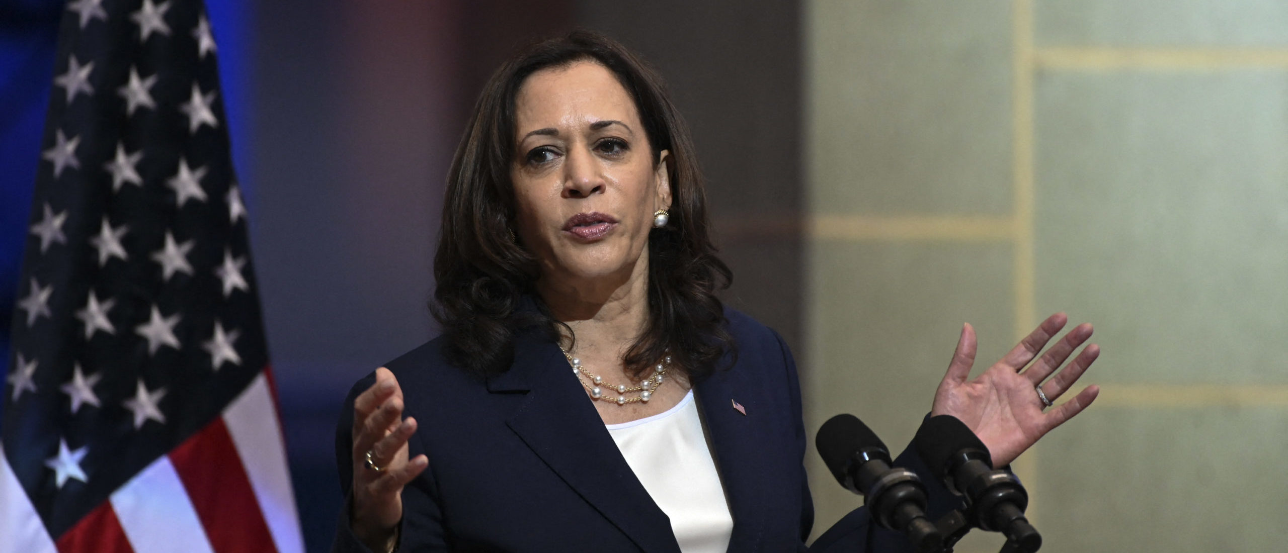 """US Vice-President Kamala Harris speaks during a joint press conference with Guatemalan President Alejandro Giammattei (out of frame) at the Culture Palace in Guatemala City on June 7, 2021. - Harris arrived in Guatemala Sunday, bringing a message of """"hope"""" to a region hammered by Covid-19 and which is the source of most of the undocumented migrants seeking entry to the United States. (Photo by Johan ORDONEZ / AFP) (Photo by JOHAN ORDONEZ/AFP via Getty Images)"""