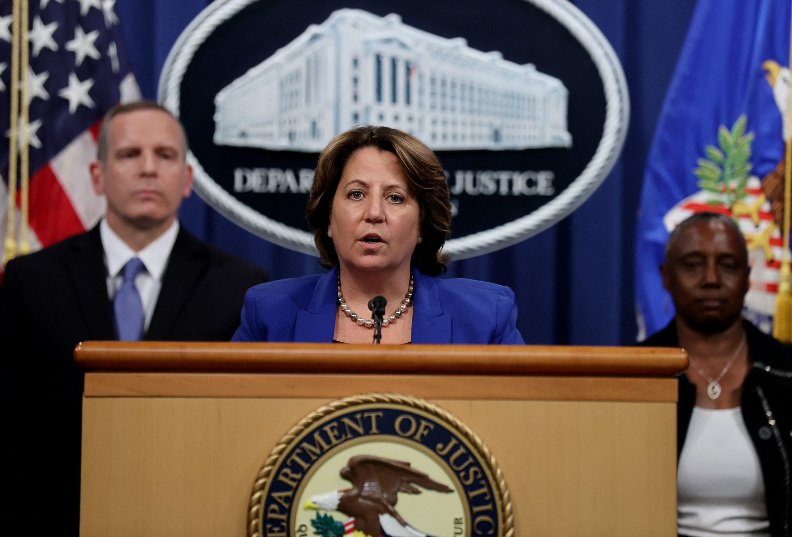 Deputy Attorney General Lisa Monaco speaks during the press conference Monday alongside FBI Deputy Director Paul Abbate and Acting US Attorney for the Northern District of California Stephanie Hinds. (Jonathan Ernst/Pool/AFP via Getty Images)