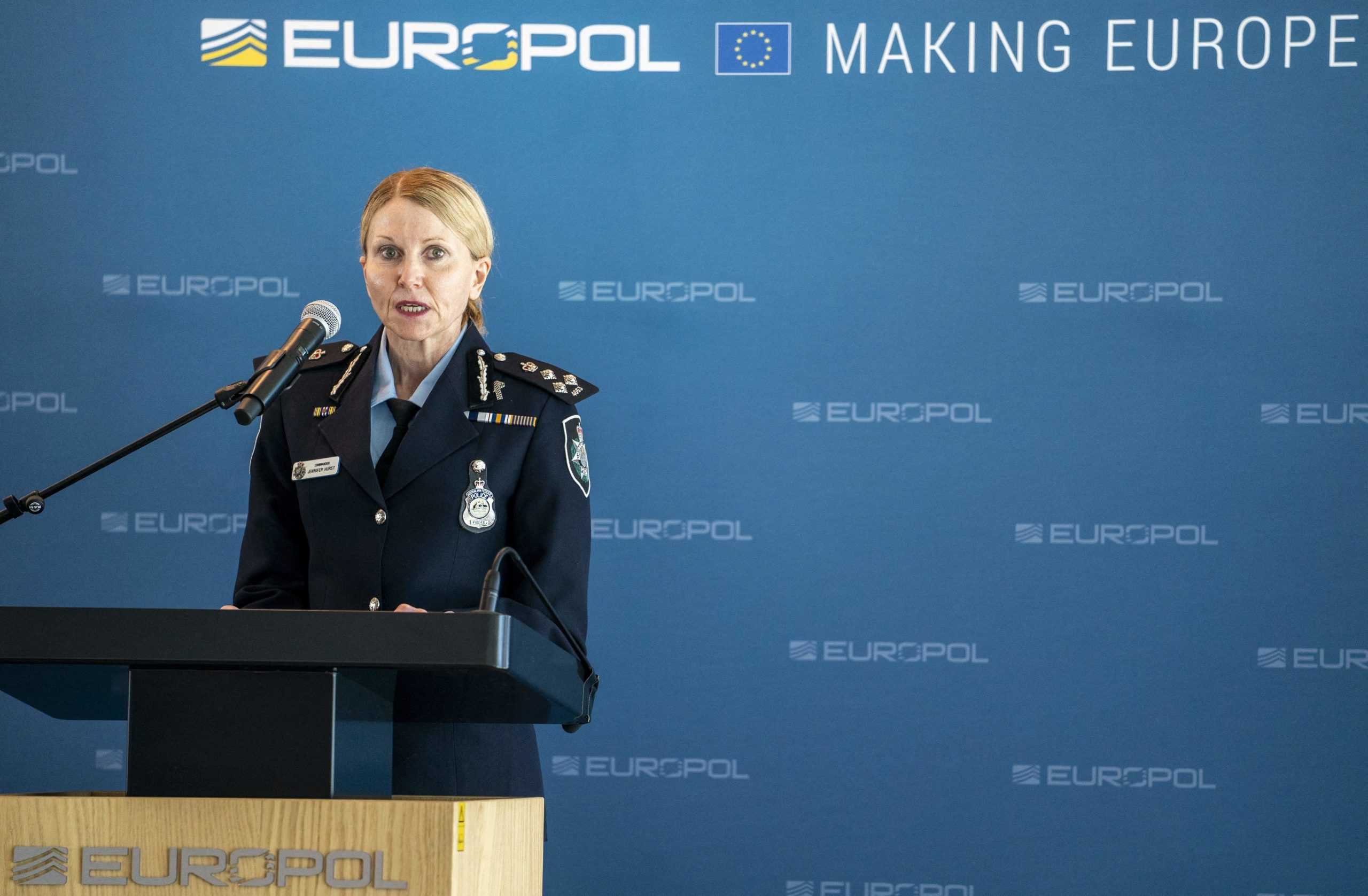 Australian Federal Police Commander Jennifer Hurst speaks during a press conference on Tuesday at Europol. (Jerry Lampen/ANP/AFP via Getty Images)