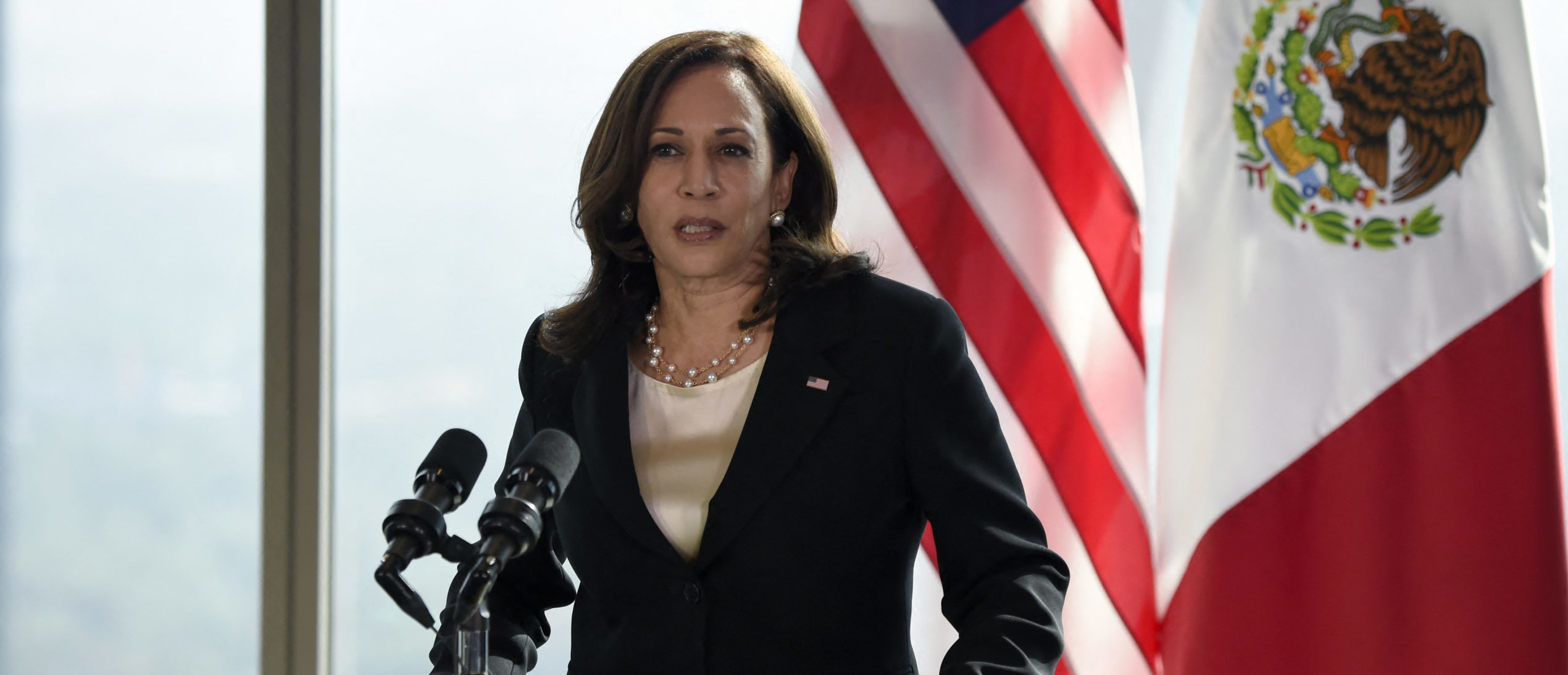 """US Vice President Kamala Harris speaks during a press conference in Mexico City, on June 8, 2021. - US Vice President Kamala Harris held talks with Mexican President Andres Manuel Lopez Obrador Tuesday during a visit to the region aimed at tackling the """"root causes"""" of a surge in migrant arrivals. (Photo by ALFREDO ESTRELLA / AE / AFP) (Photo by ALFREDO ESTRELLA/AE/AFP via Getty Images)"""