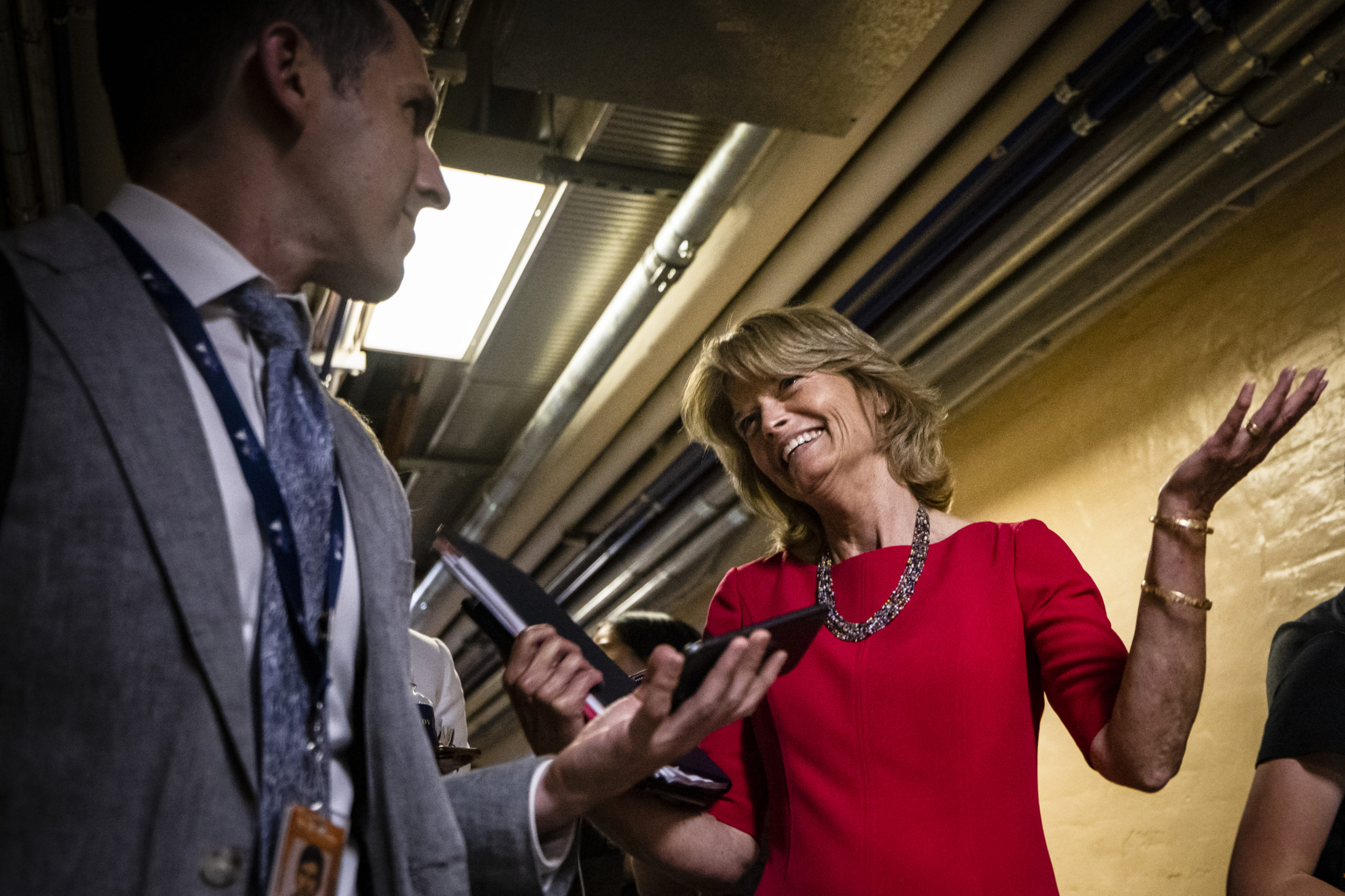 U.S. Sen. Lisa Murkowski (R-AK) reacts to questions from reporters as she leaves a bipartisan meeting on infrastructure in the basement of the U.S. Capitol building after the original talks fell through with the White House on June 8, 2021 in Washington, DC. (Samuel Corum/Getty Images)