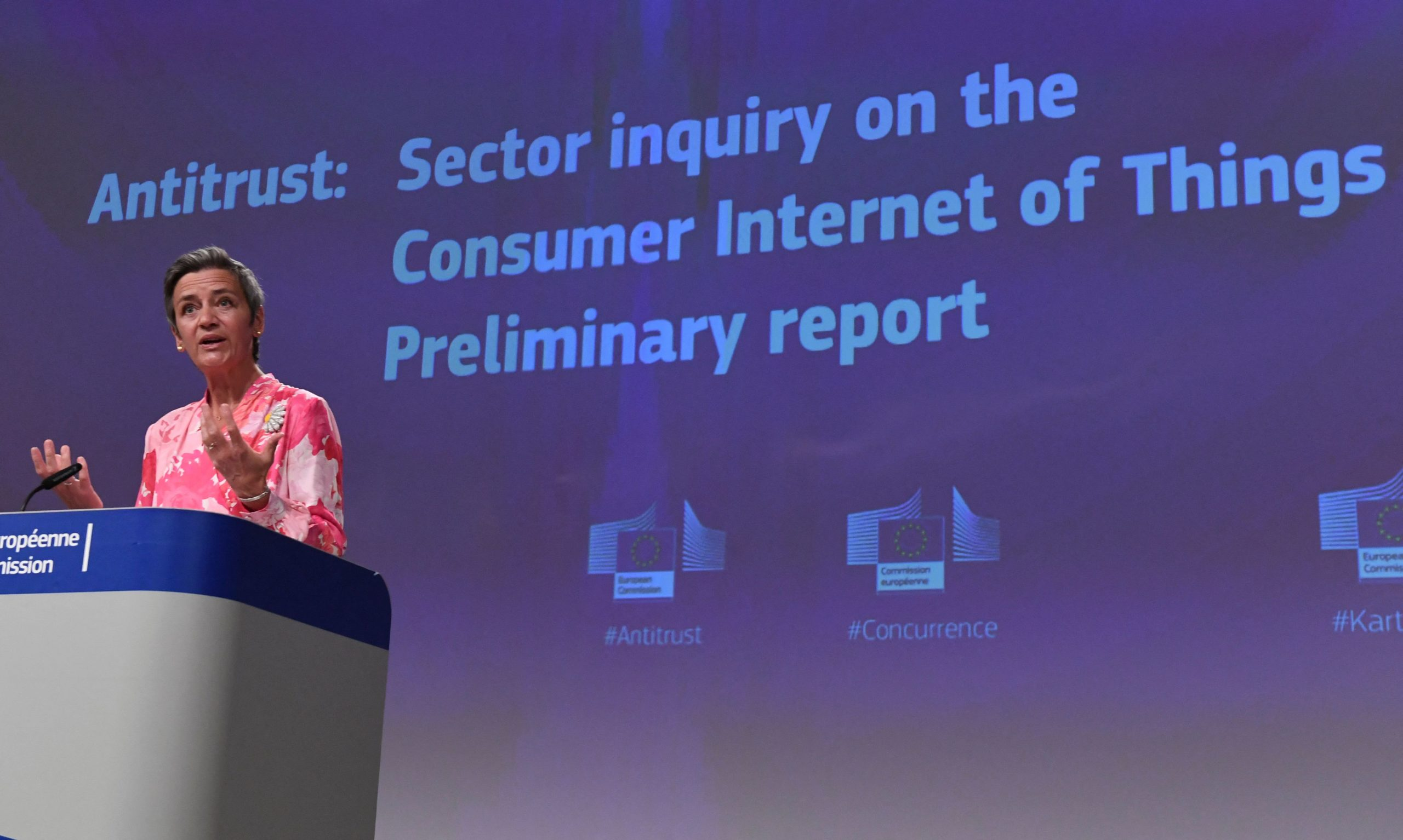 European Commission leader Margrethe Vestager speaks about ongoing antitrust investigations on June 9. (John Thys/Pool/AFP via Getty Images)