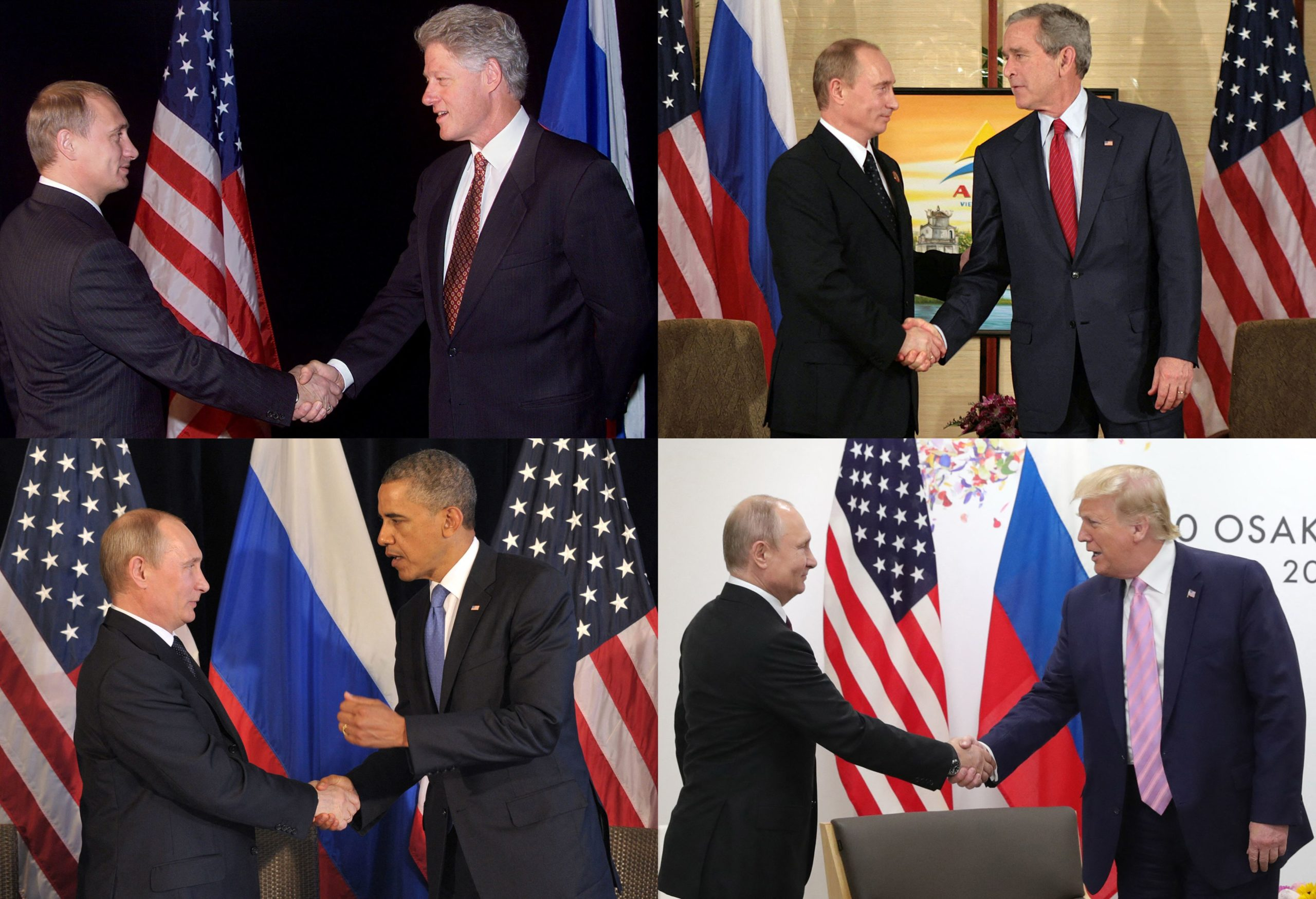 (COMBO) This combination of pictures created on June 11, 2021 shows Russian President Vladimir Putin (L) shaking hands with US Presidents (from top left) Bill Clinton in the lobby of the Stamford Hotel in Auckland, New Zealand on September 12, 1999 on the first day of the annual Asia Pacific Economic Cooperation (APEC) meeting, US President George W. Bush during a bilateral meeting on the sidelines of the Asian Pacific Economic Cooperation (APEC) summit in Hanoi on November 19, 2006, US President Barack Obama in Los Cabos, Mexico, on June 18, 2012, during the G20 leaders Summit and US President Donald Trump during the G20 summit in Osaka on June 28, 2019. (Photo by various sources / AFP) (Photo by STEPHEN JAFFE,JIM WATSON,ALEXEY NIKOLSKY,MIKHAIL KLIMENTYEV/RIA NOVOSTI/AFP via Getty Images)