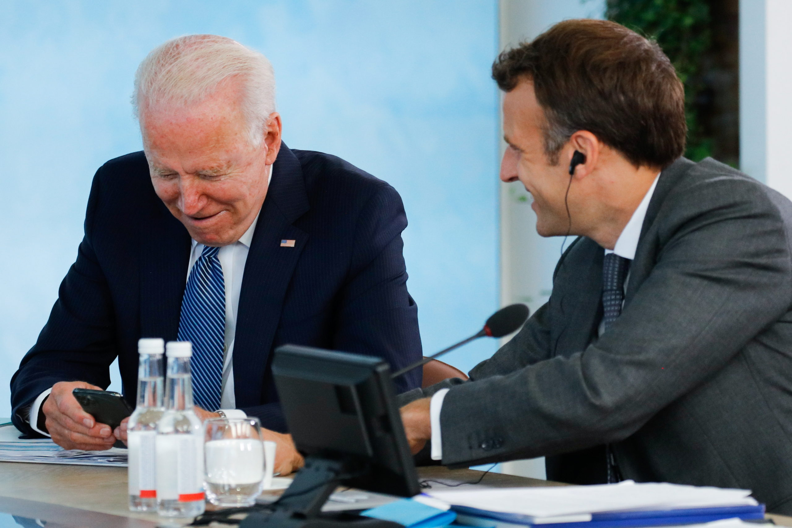 U.S. President Joe Biden and French President Emmanuel Macron attend a plenary session during G7 summit in Carbis Bay on June 13, 2021 in Cornwall, United Kingdom. (Phil Noble - WPA Pool/Getty Images)