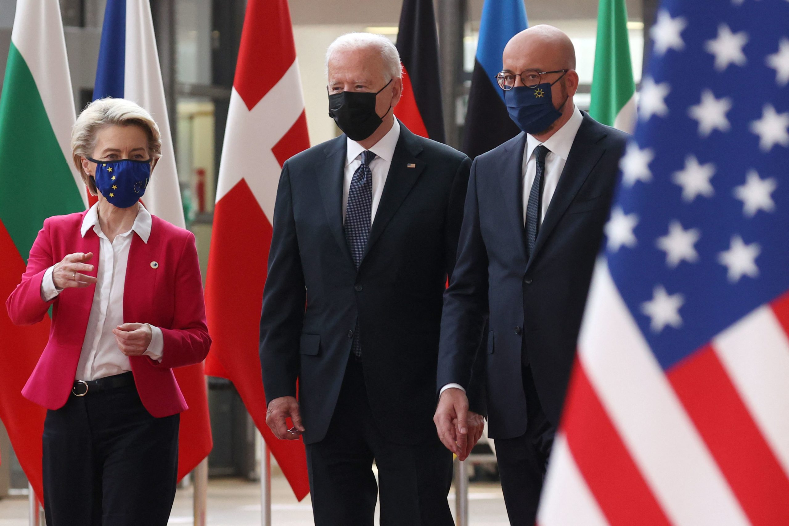 ALTERNATIVE CROP - (From L) President of the EU Commission Ursula von der Leyen, US President Joe Biden and European Council President Charles Michel arrive for an EU - US summit at the European Union headquarters in Brussels on June 15, 2021. (Photo by KENZO TRIBOUILLARD / AFP) (Photo by KENZO TRIBOUILLARD/AFP via Getty Images)