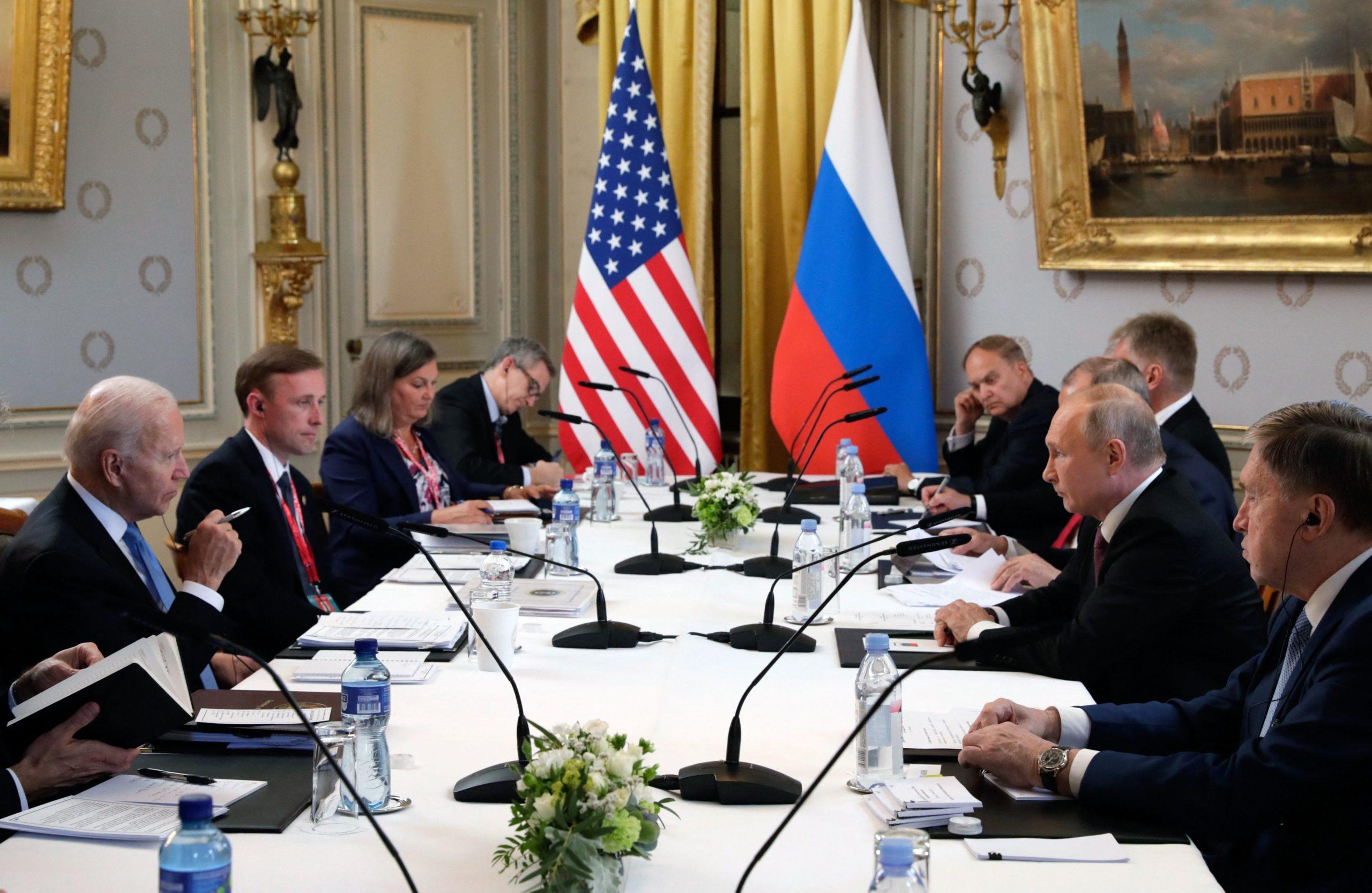 President Joe Biden meets with Russian President Vladimir Putin in Geneva, Switzerland on Wednesday. (Mikhail Metzel/Sputnik/AFP via Getty Images)