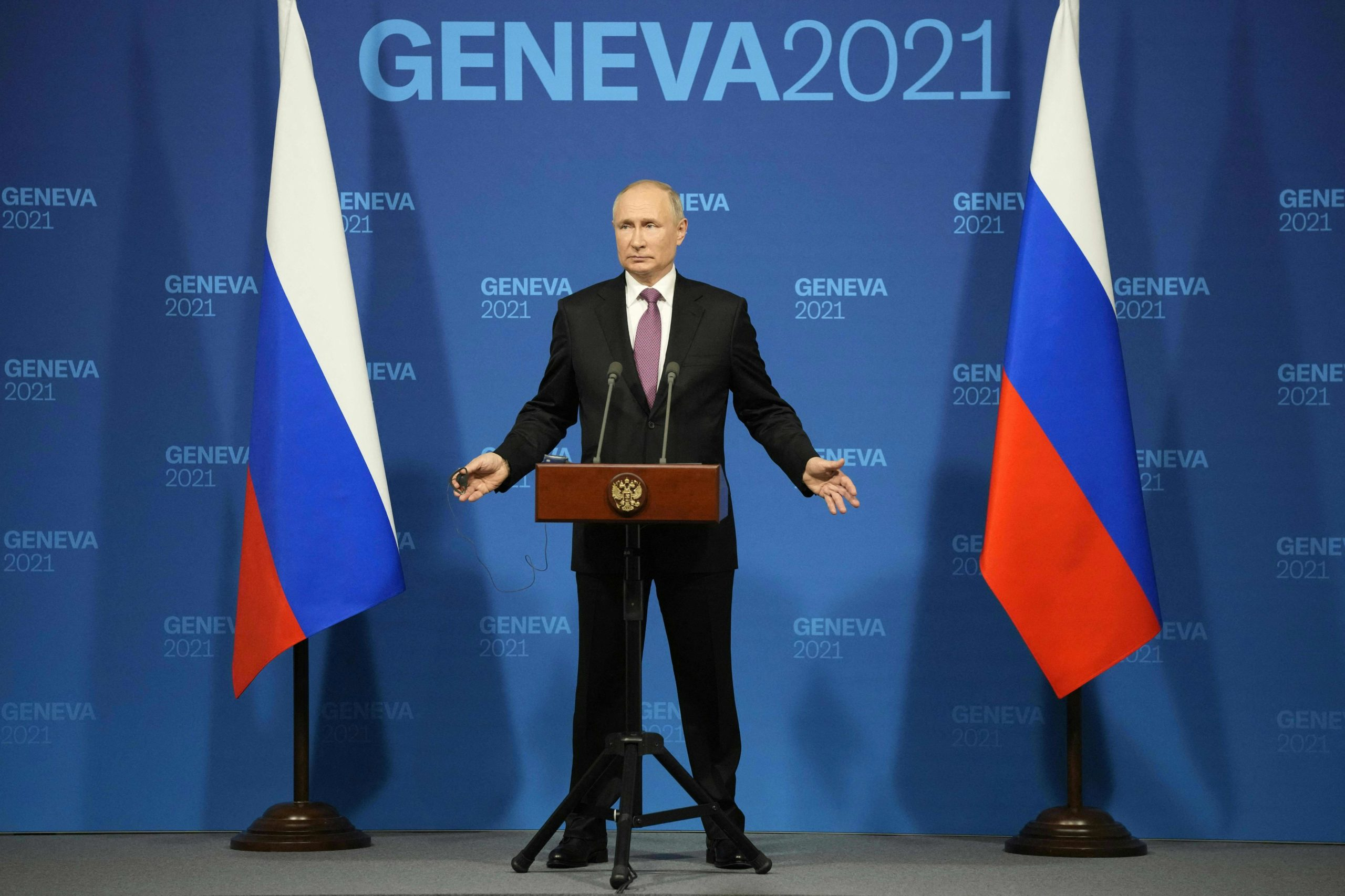 Russia's President Vladimir Putin holds a press conference after the US-Russia summit in Geneva on June 16, 2021. (Alexander Zemlianichenko / POOL / AFP)