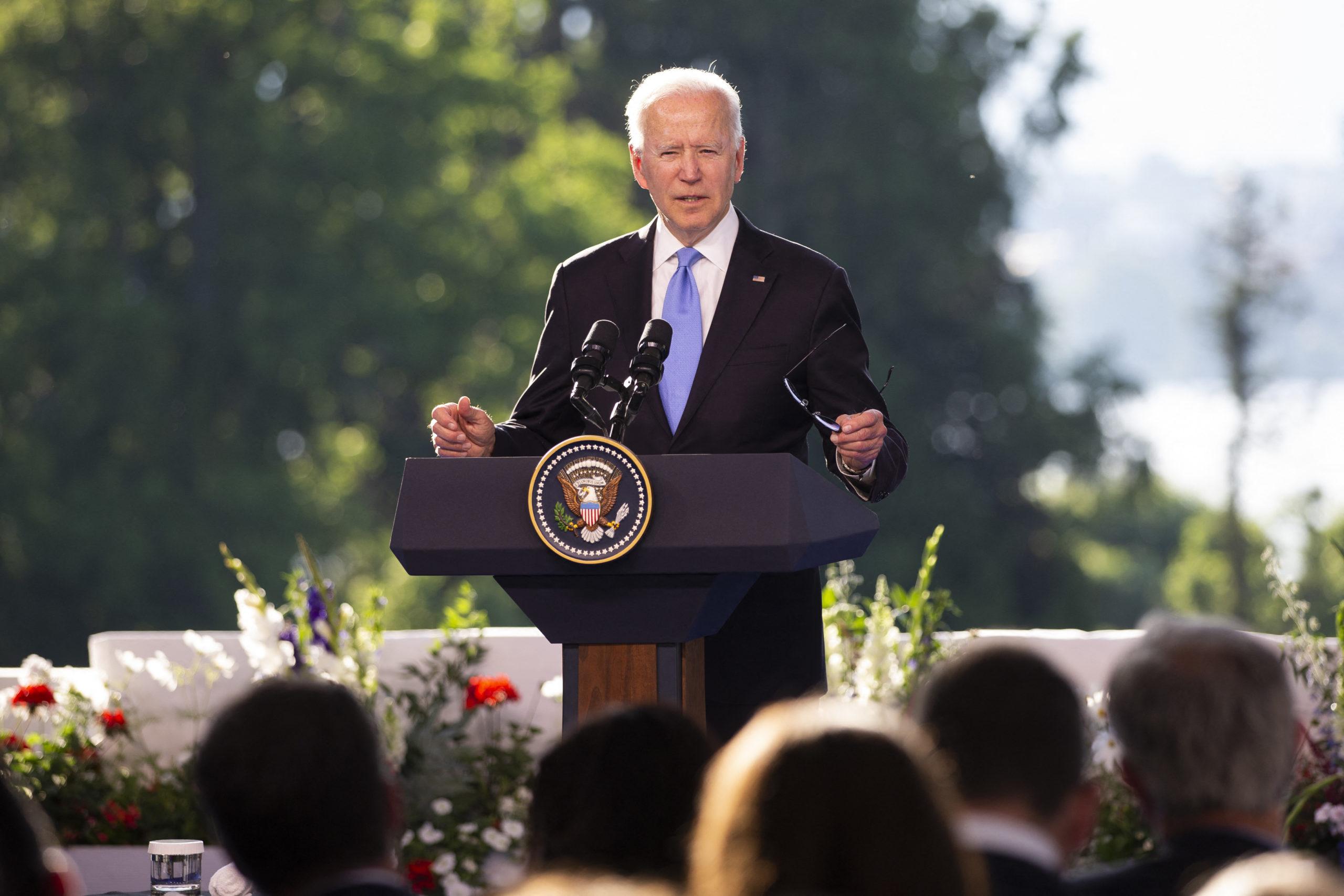 President Joe Biden holds a press conference in Geneva, Switzerland on Wednesday. (Peter Klaunzer/Pool/AFP via Getty Images)