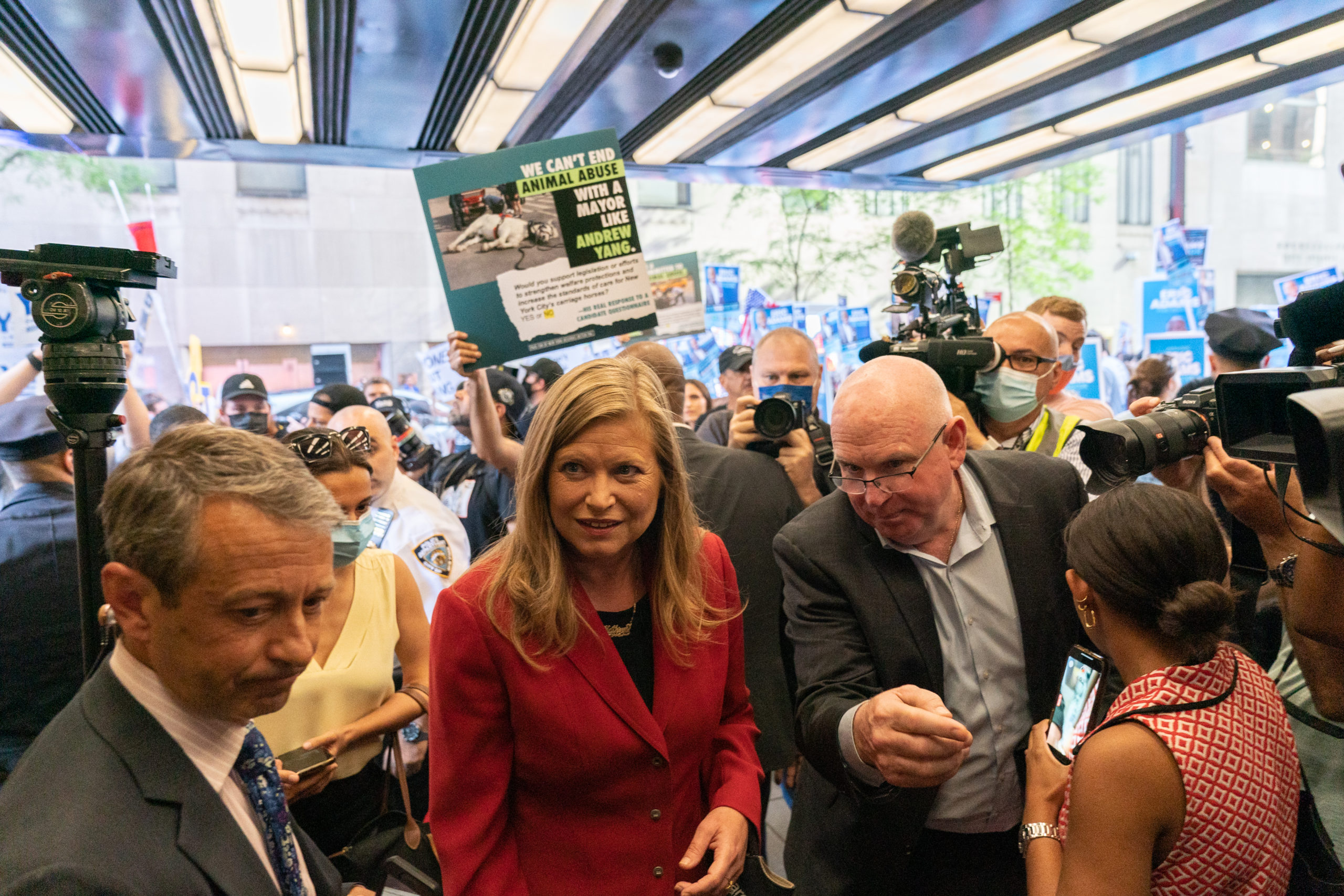 Mayoral candidate Kathryn Garcia arrives for a debate on Wednesday in New York City. (Jeenah Moon/Getty Images)
