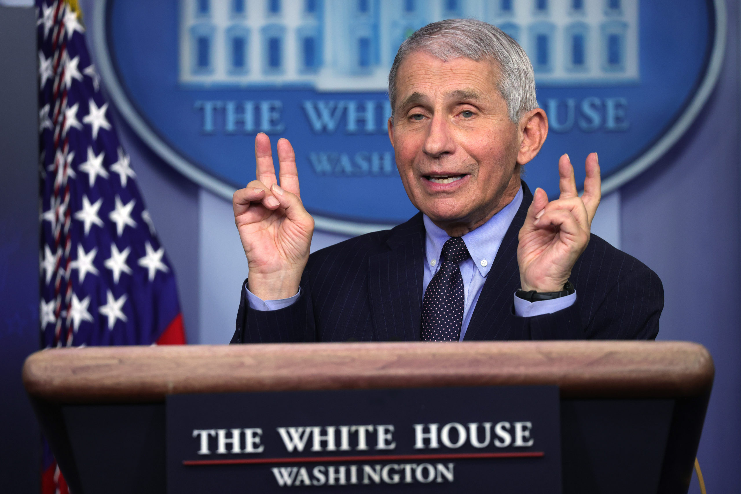 Dr Anthony Fauci, Director of the National Institute of Allergy and Infectious Diseases, speaks during a White House press briefing, conducted by White House Press Secretary Jen Psaki, at the James Brady Press Briefing Room of the White House January 21, 2021 in Washington, DC. (Alex Wong/Getty Images)