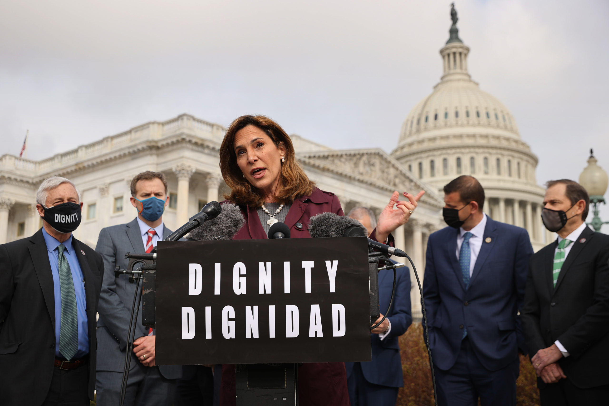 Rep. Maria Elvira Salazar, Republican of Florida, was one of two Hispanic Republicans to flip a House seat in Miami-Dade County in 2020. (Chip Somodevilla/Getty Images)