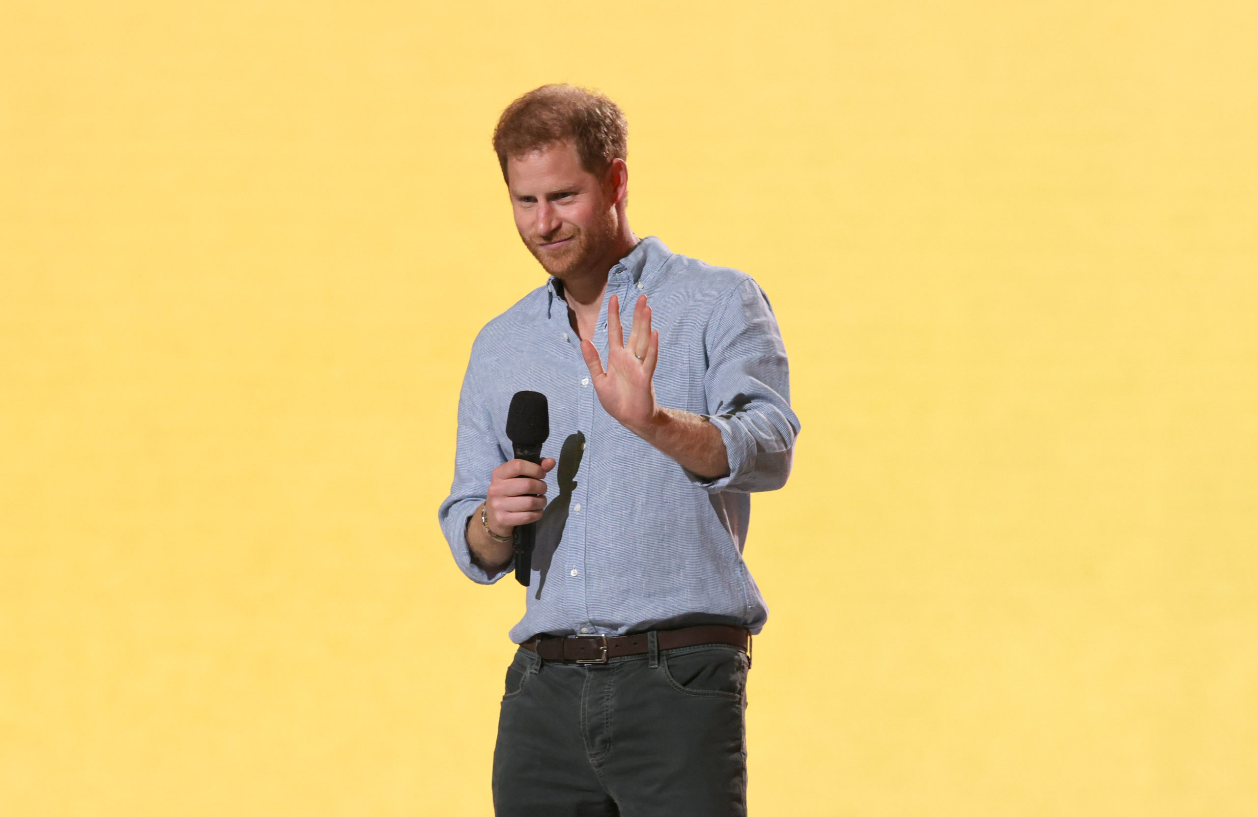 Prince Harry speaks onstage during a Global Citizen event at SoFi Stadium in Inglewood, California on May 2. (Kevin Winter/Getty Images for Global Citizen VAX LIVE)